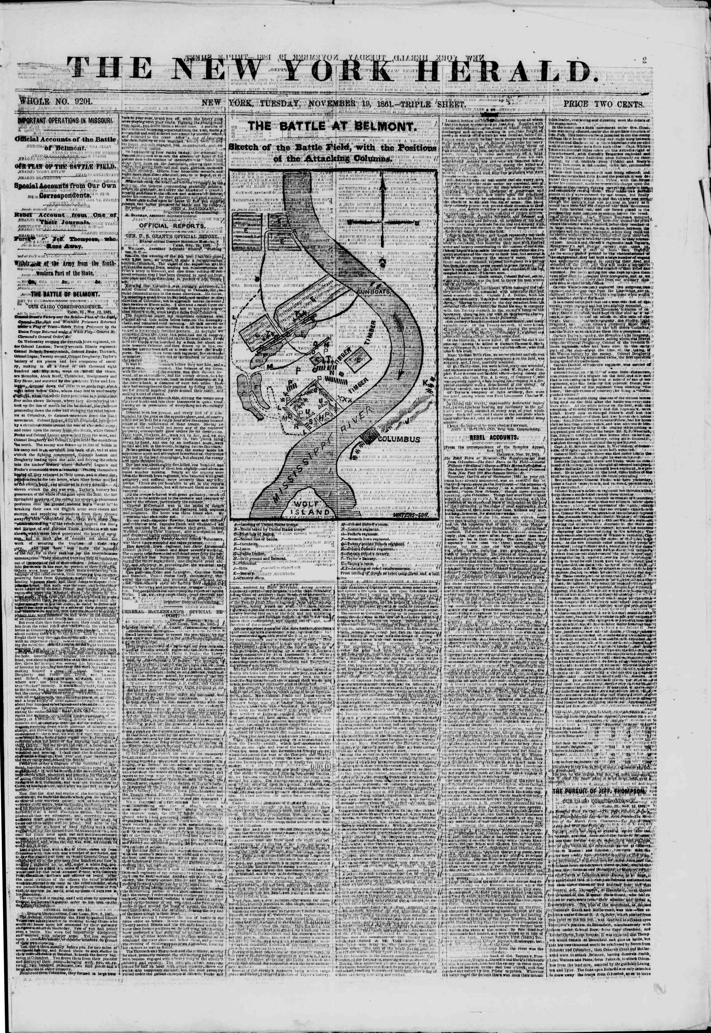 Newspaper of The New York Herald dated November 19, 1861 Page 1