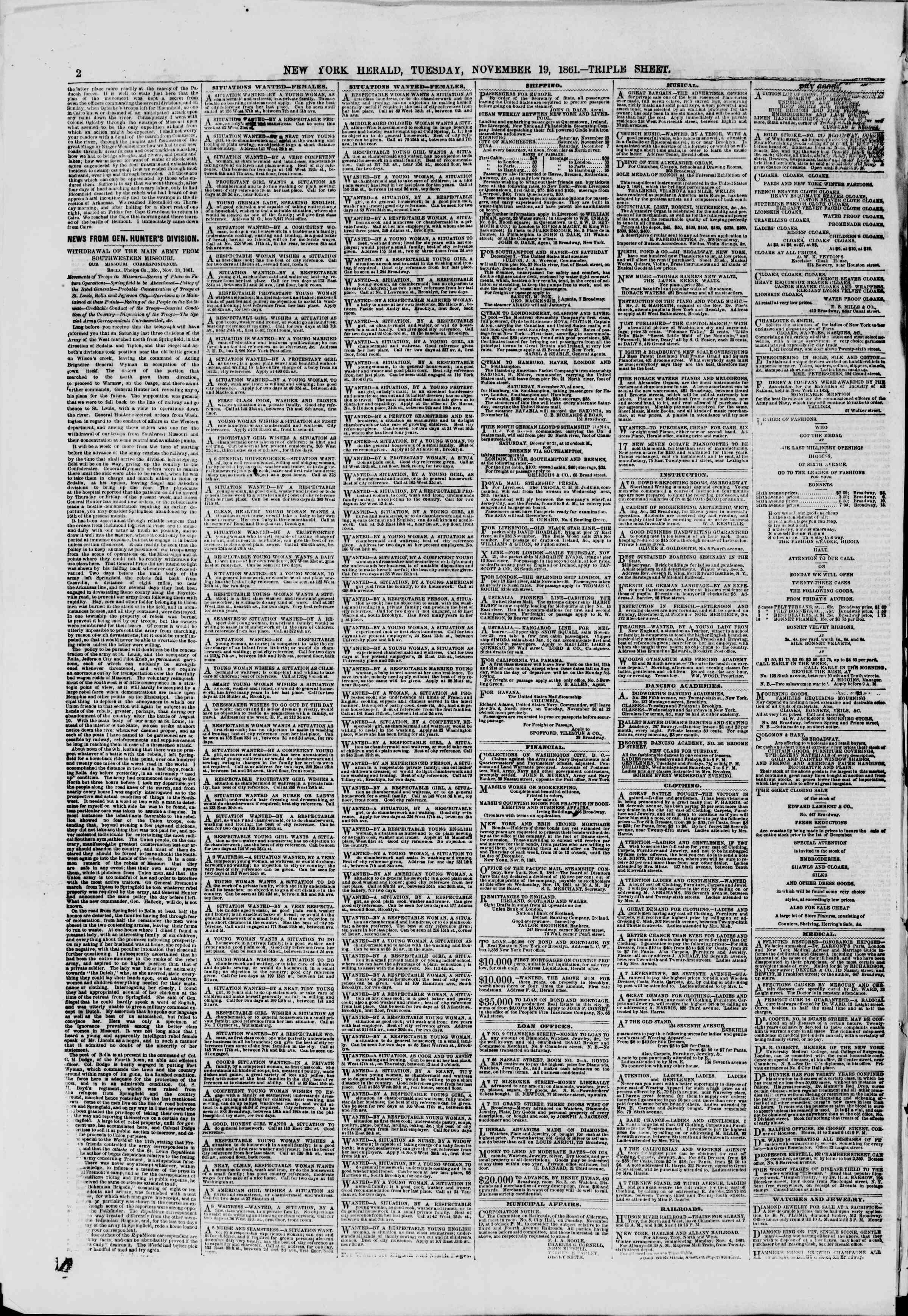 Newspaper of The New York Herald dated November 19, 1861 Page 2