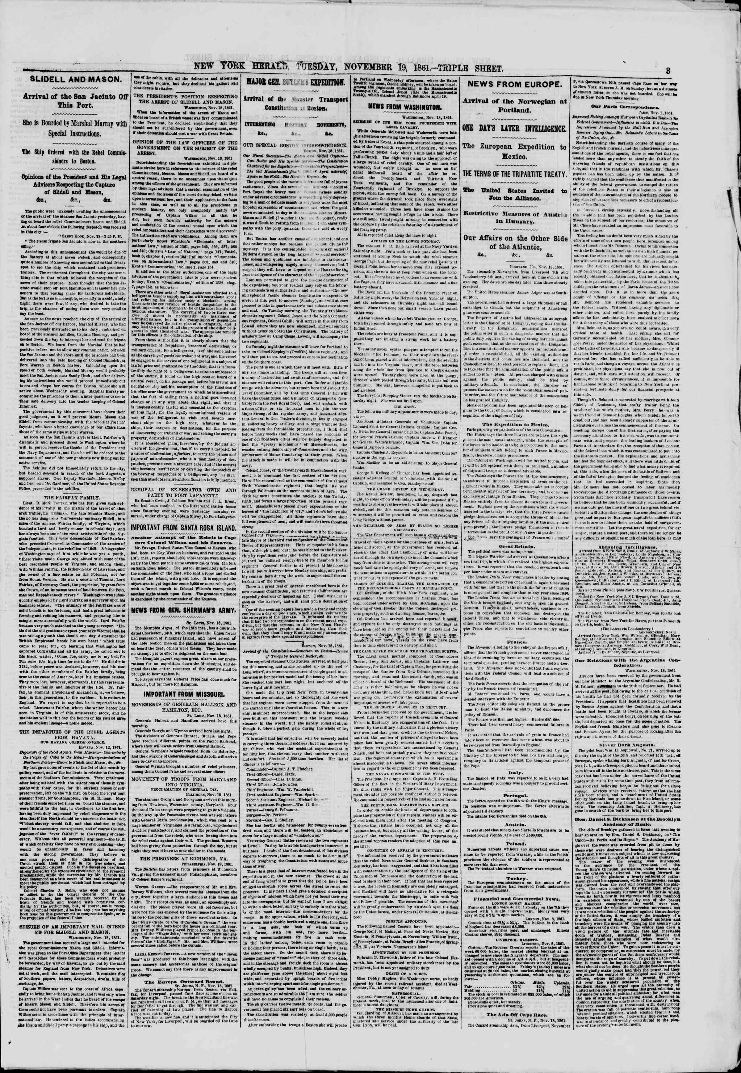 Newspaper of The New York Herald dated November 19, 1861 Page 3