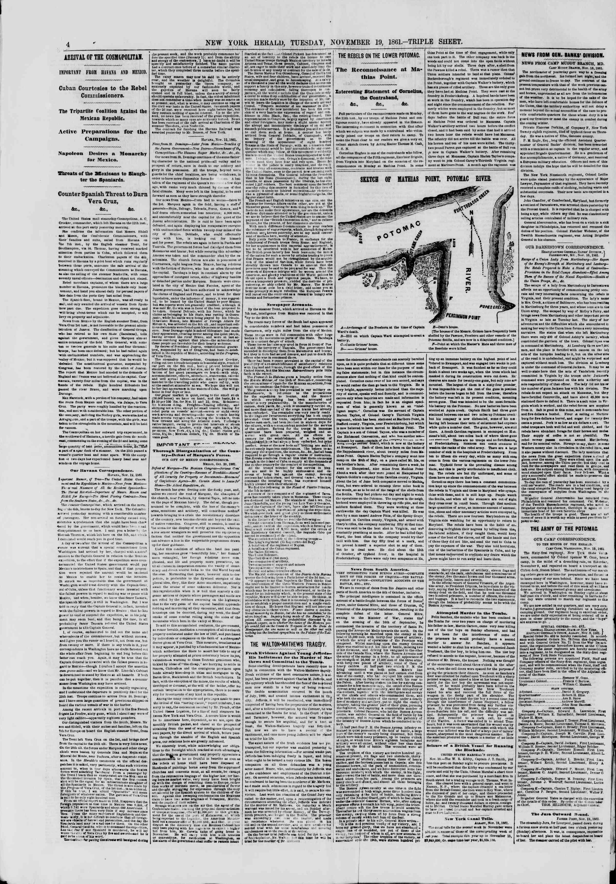 Newspaper of The New York Herald dated November 19, 1861 Page 4