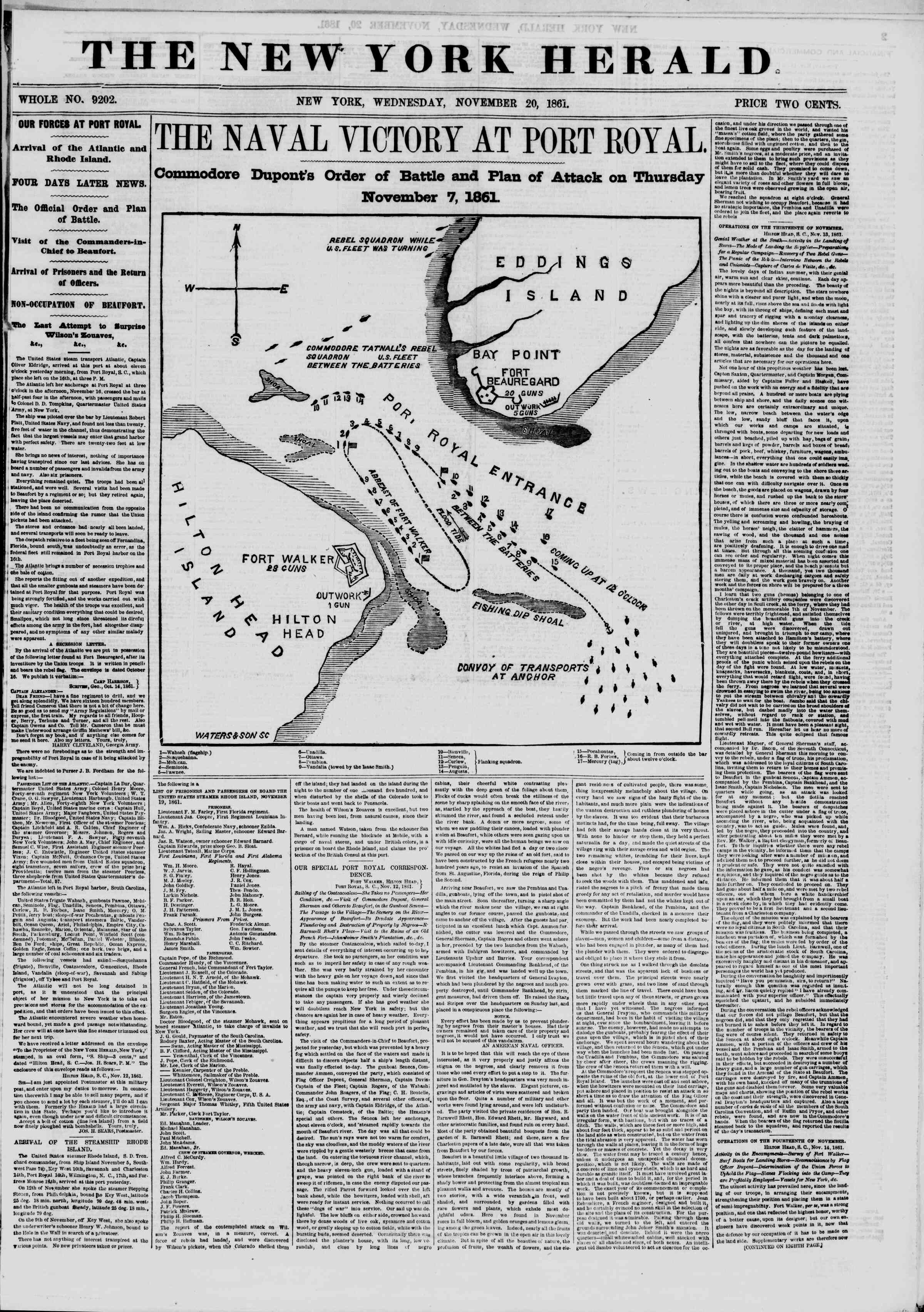 Newspaper of The New York Herald dated November 20, 1861 Page 1