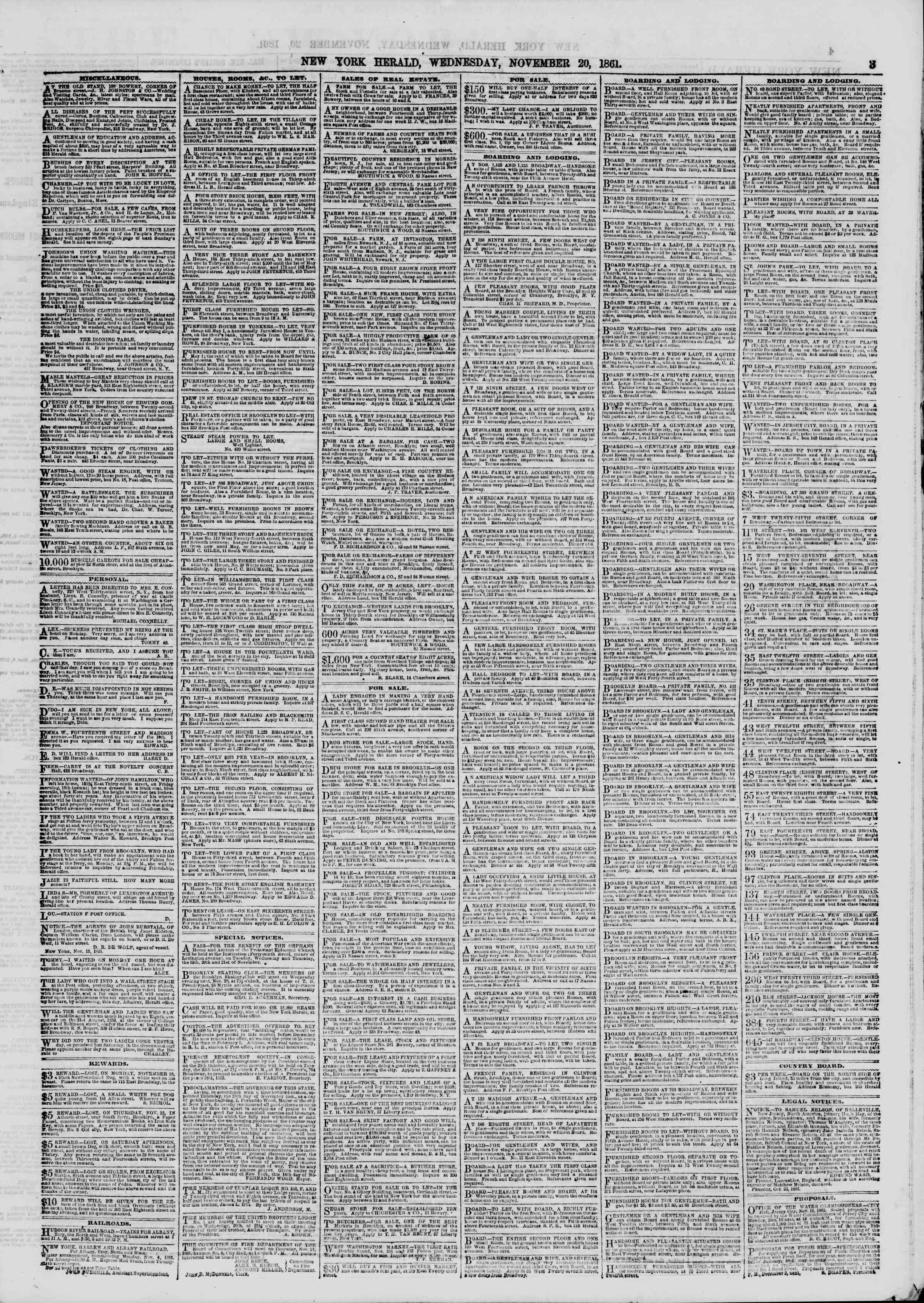 Newspaper of The New York Herald dated November 20, 1861 Page 3