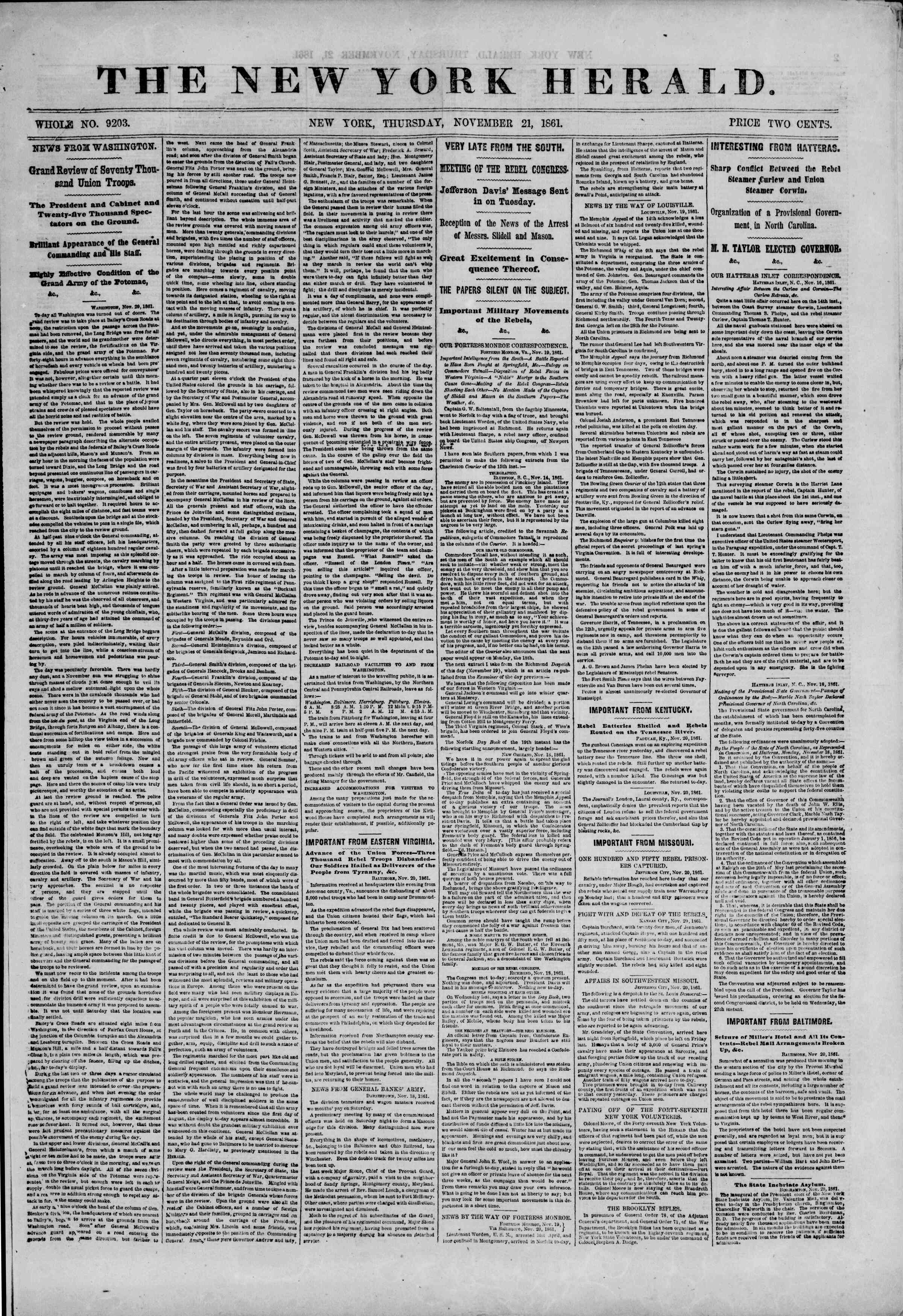 Newspaper of The New York Herald dated November 21, 1861 Page 1