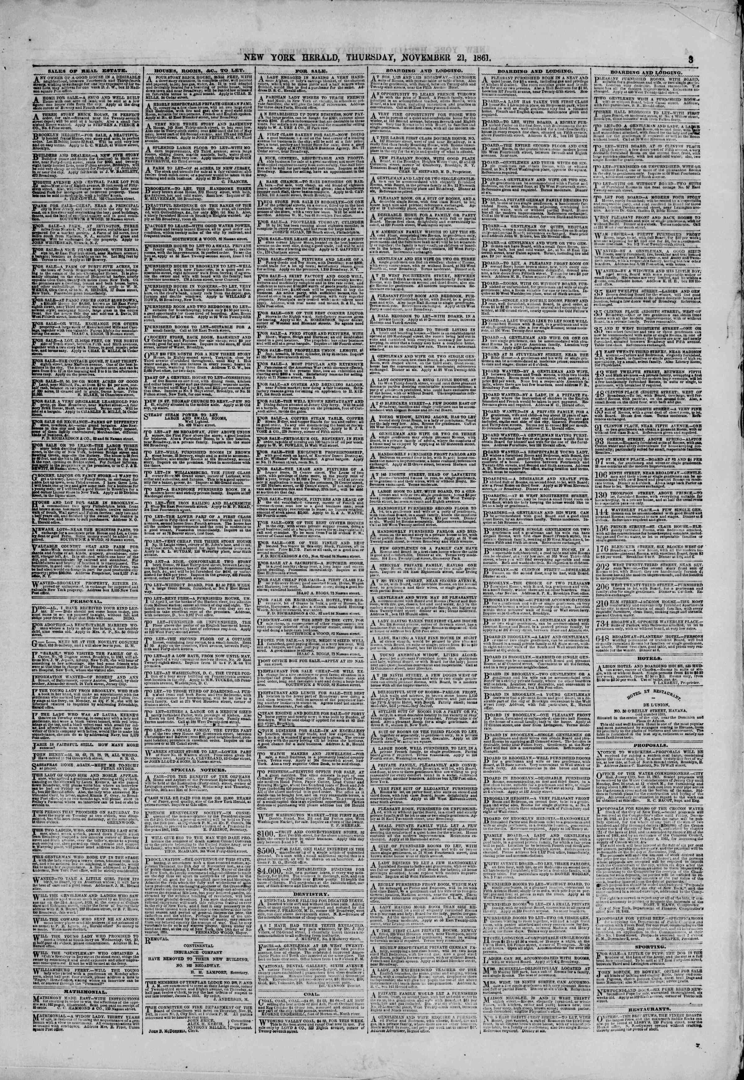 Newspaper of The New York Herald dated November 21, 1861 Page 3