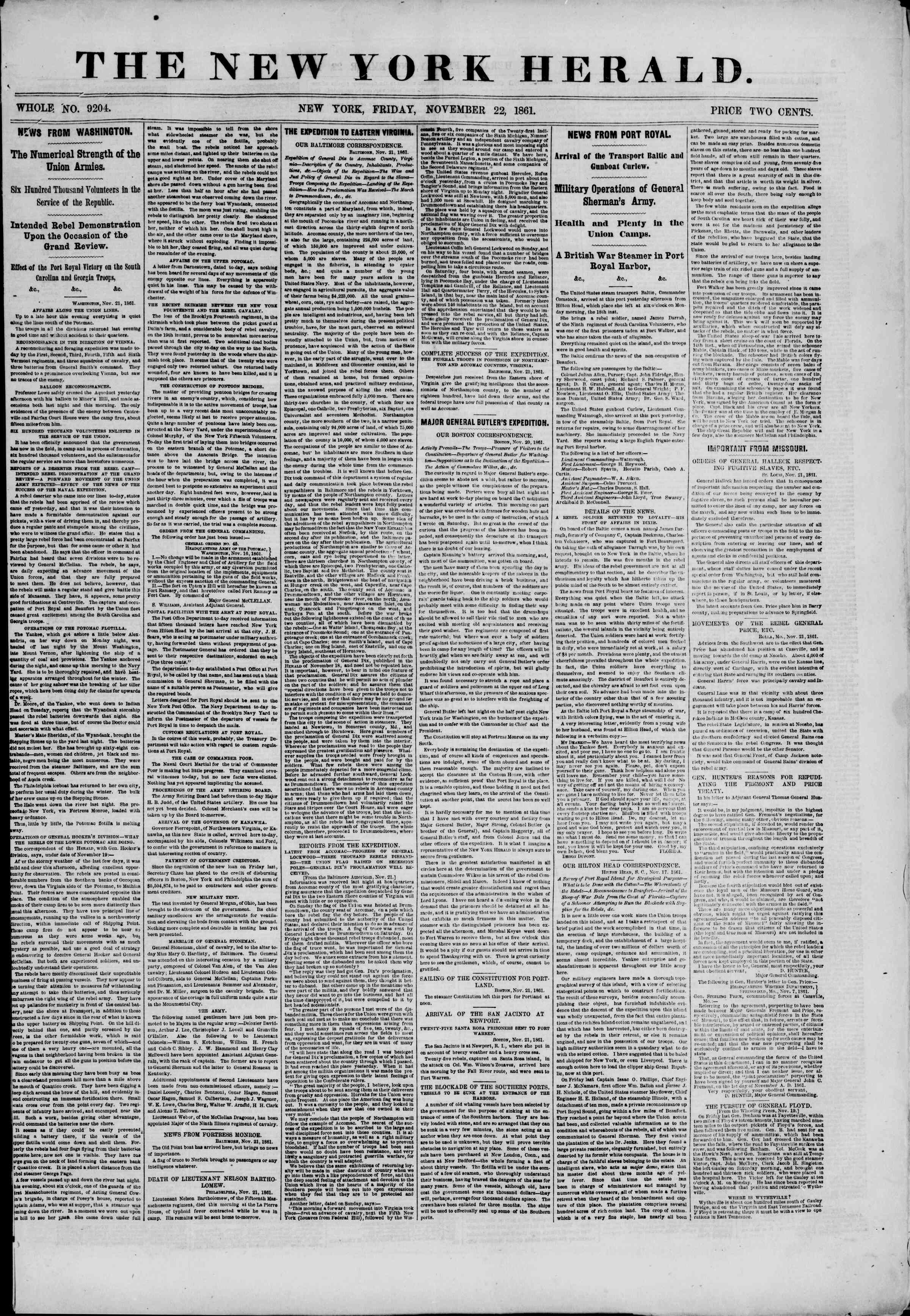 Newspaper of The New York Herald dated November 22, 1861 Page 1