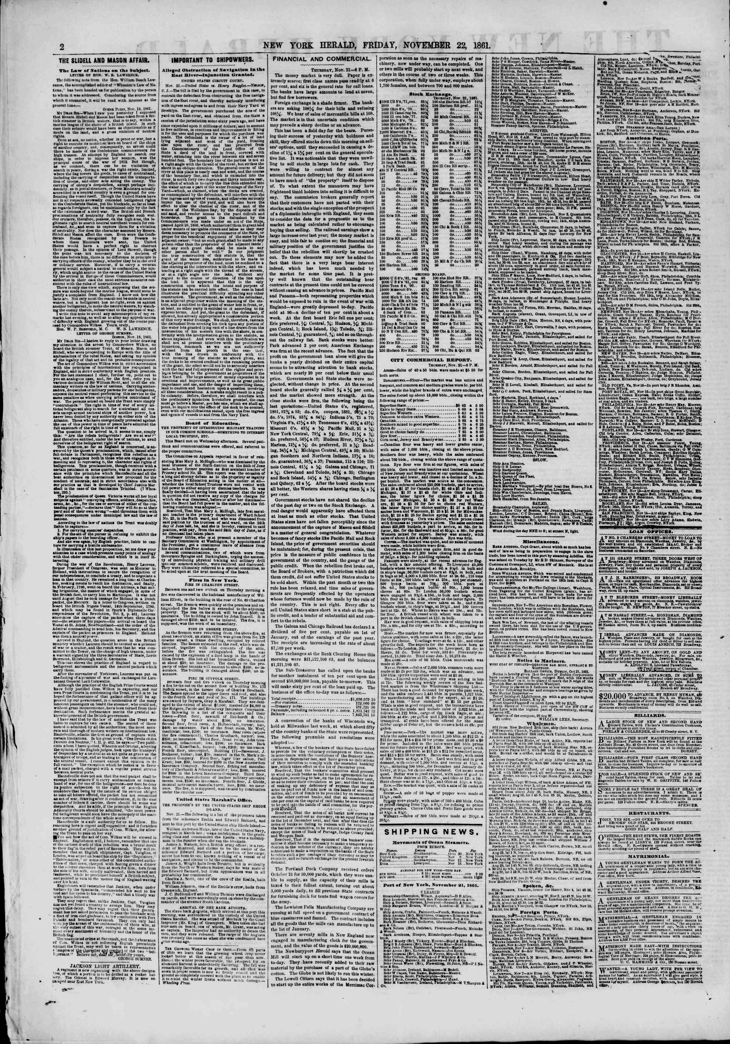 Newspaper of The New York Herald dated November 22, 1861 Page 2