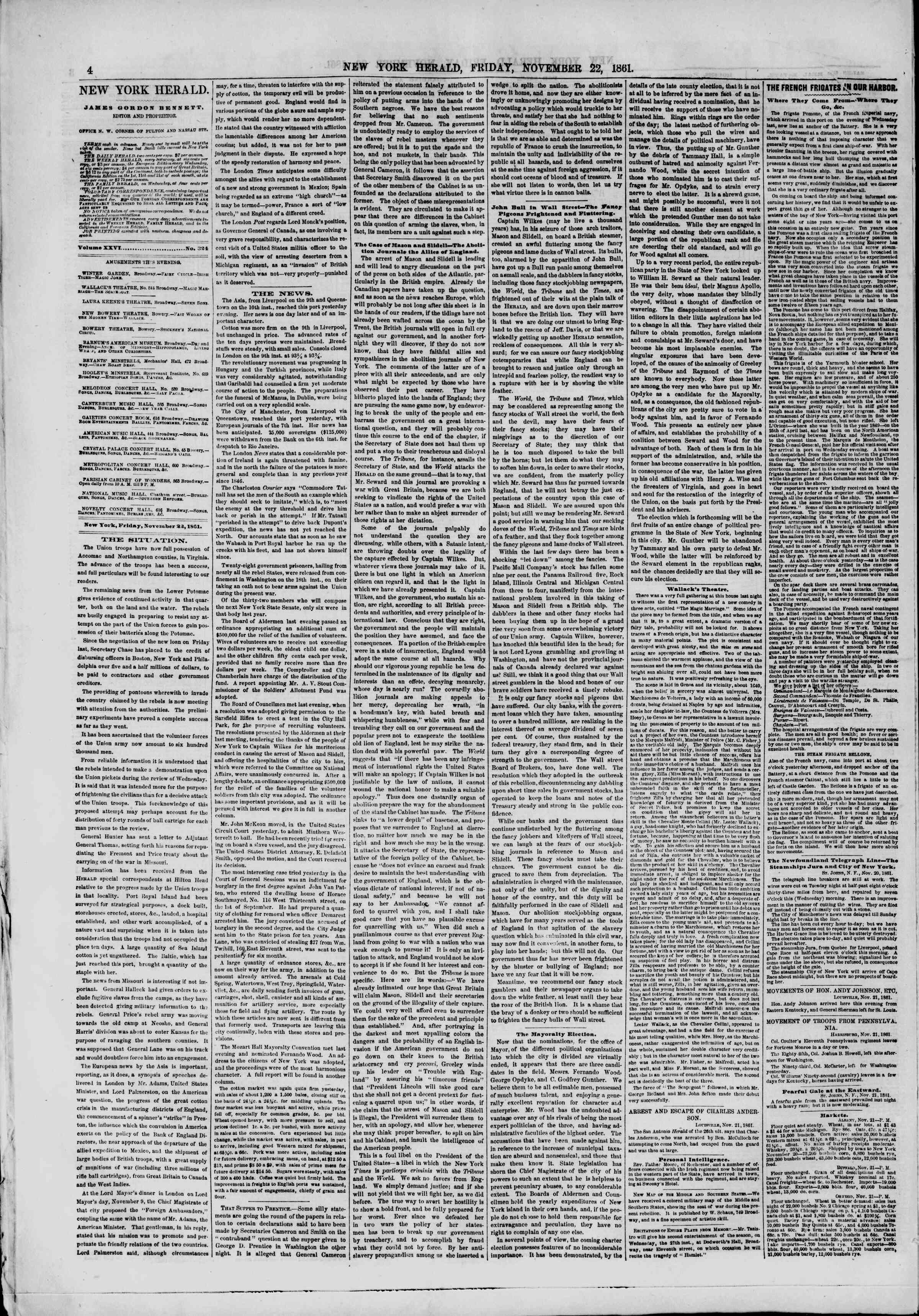 Newspaper of The New York Herald dated November 22, 1861 Page 4