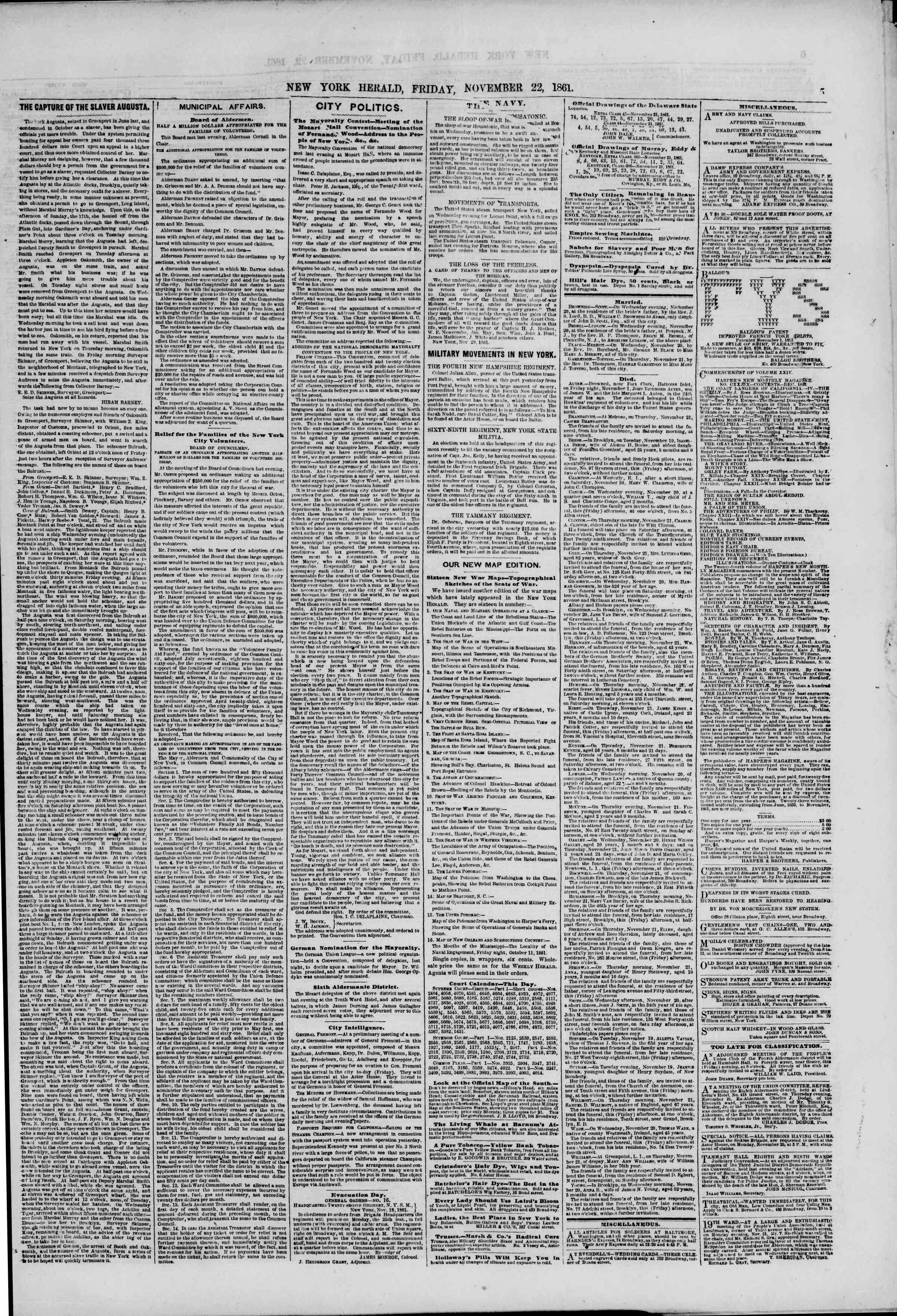 Newspaper of The New York Herald dated November 22, 1861 Page 5