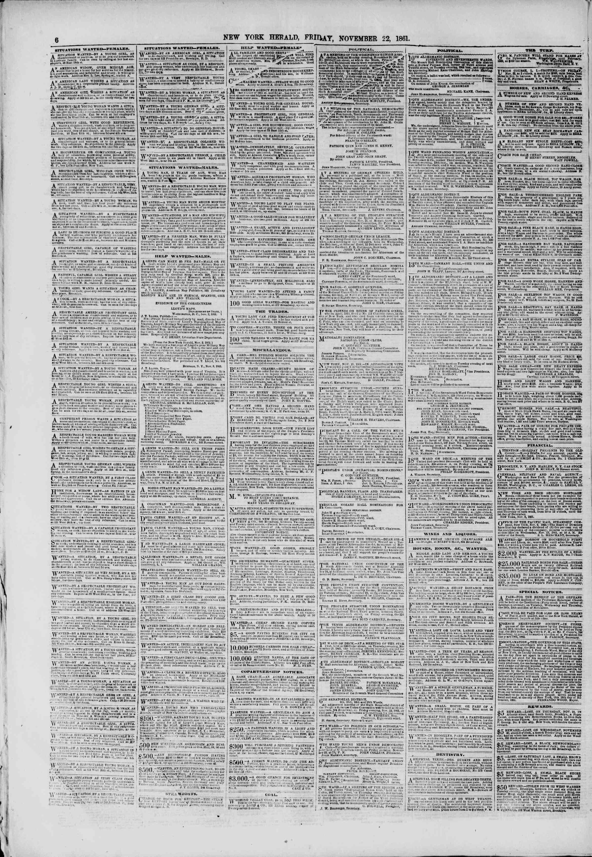 Newspaper of The New York Herald dated November 22, 1861 Page 6