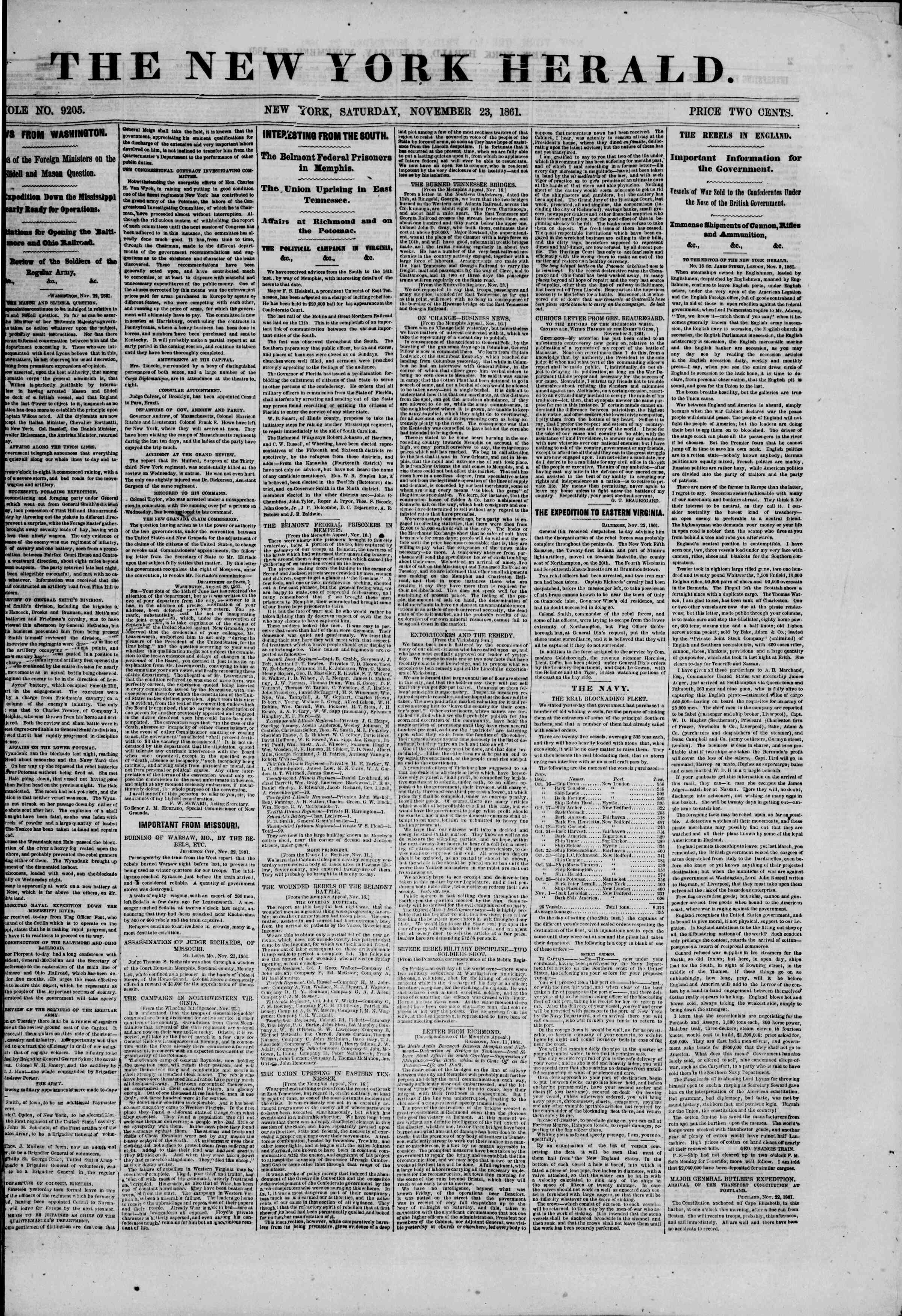 Newspaper of The New York Herald dated November 23, 1861 Page 1