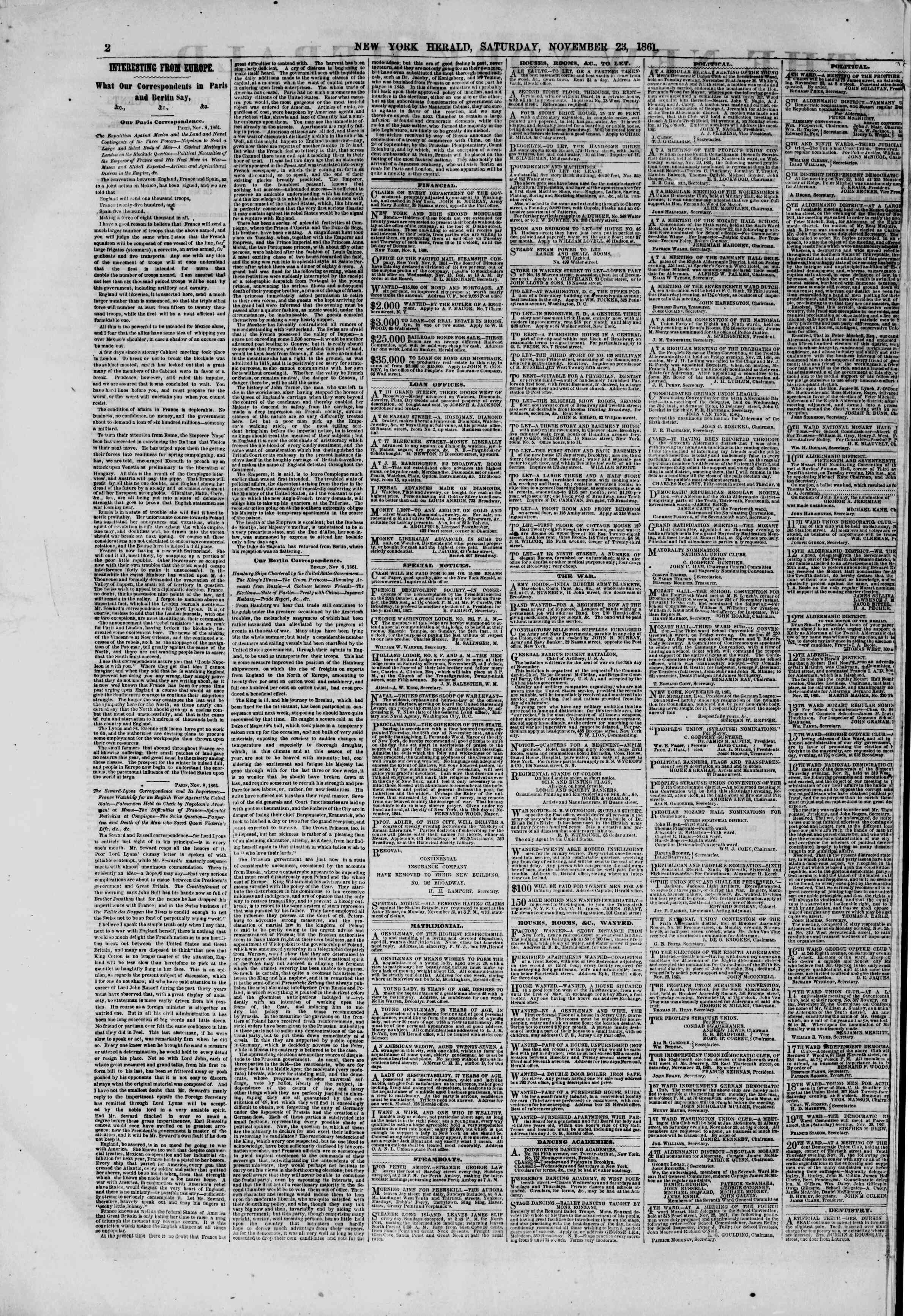 Newspaper of The New York Herald dated November 23, 1861 Page 2