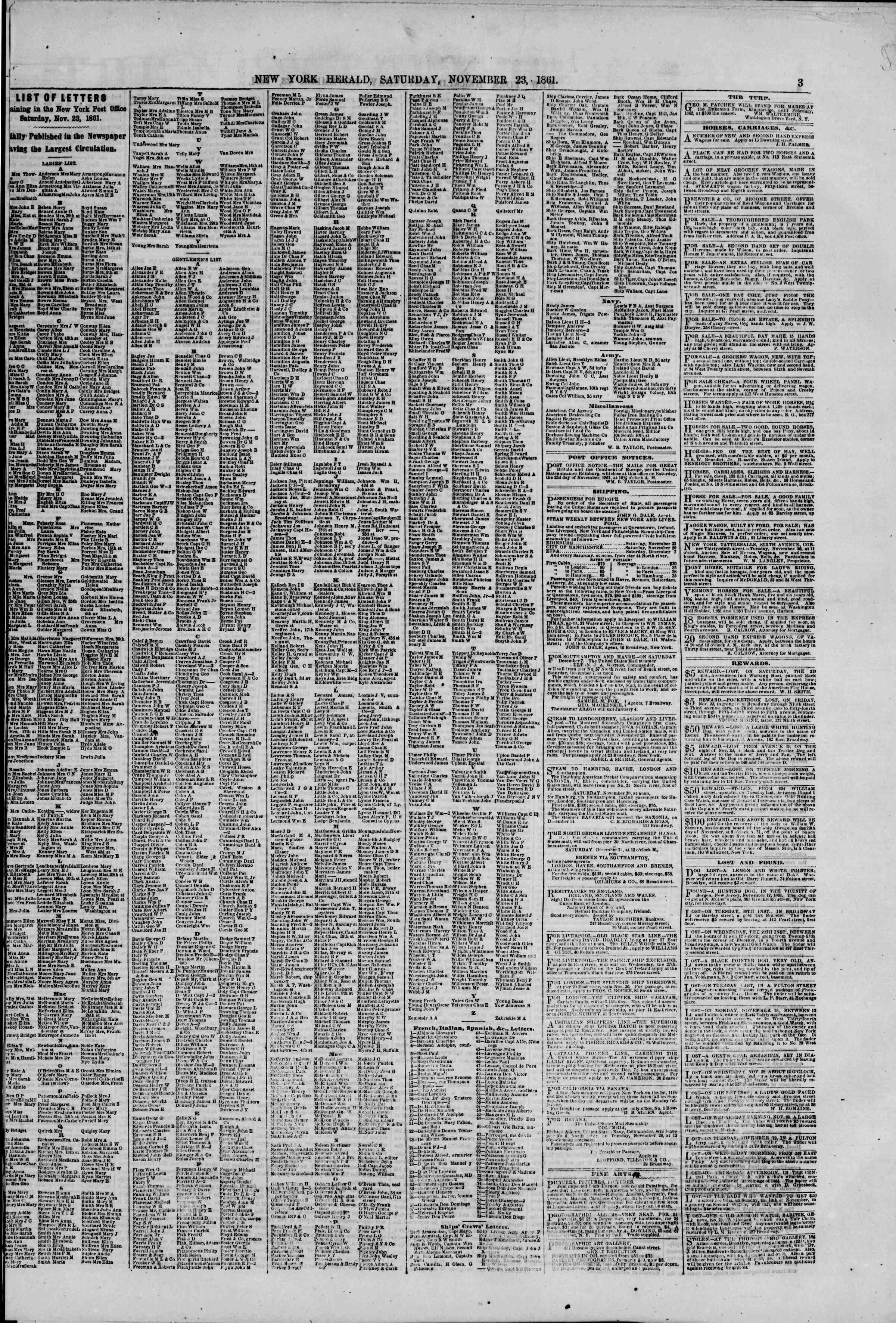 Newspaper of The New York Herald dated November 23, 1861 Page 3