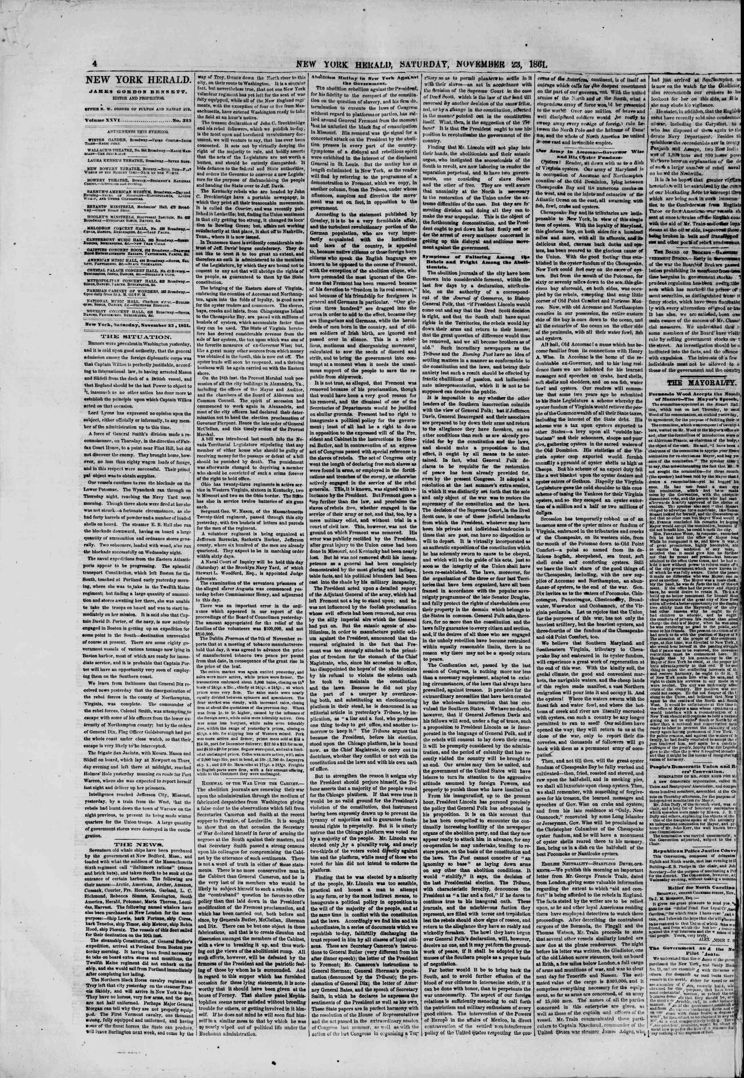 Newspaper of The New York Herald dated November 23, 1861 Page 4