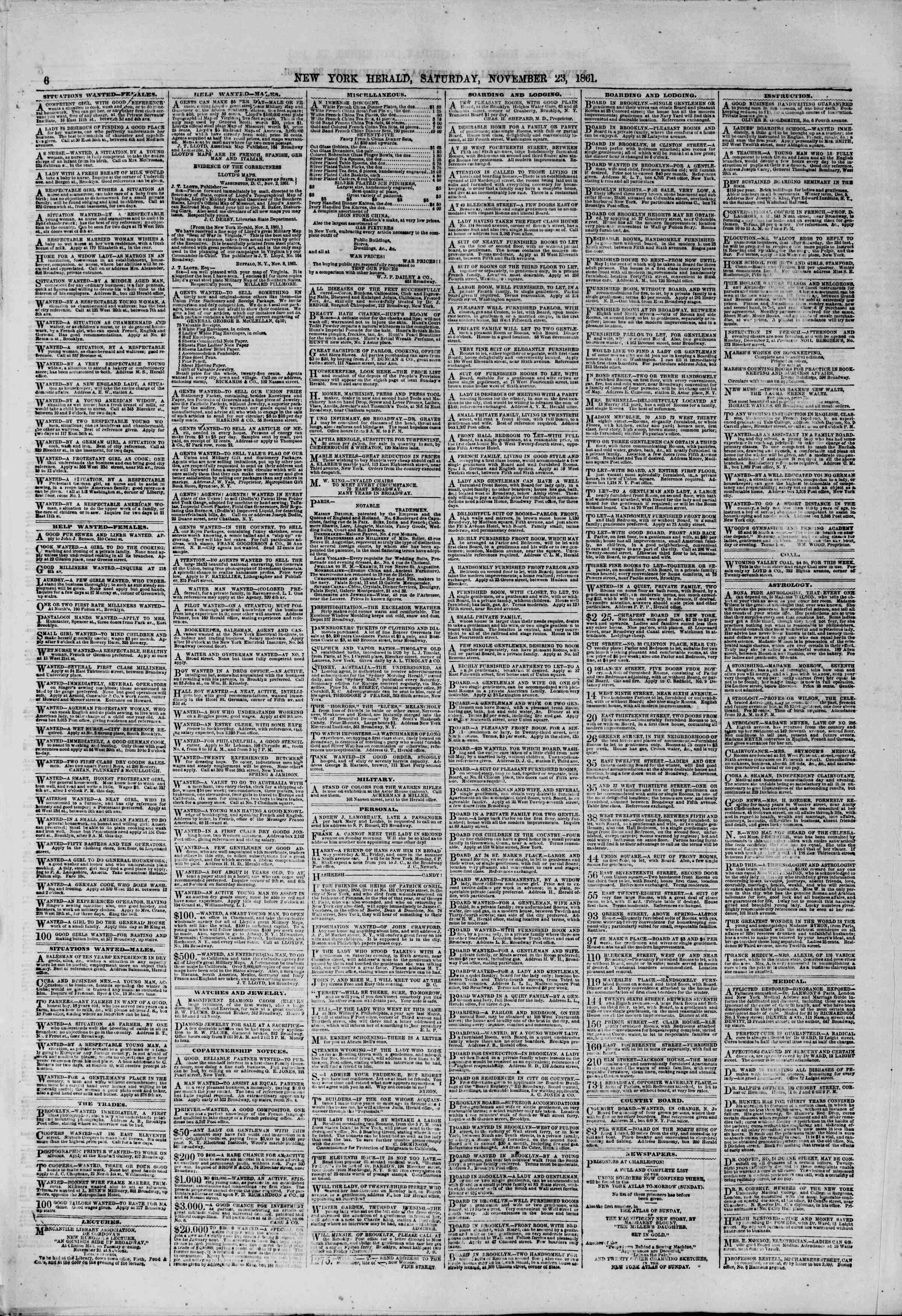 Newspaper of The New York Herald dated November 23, 1861 Page 6