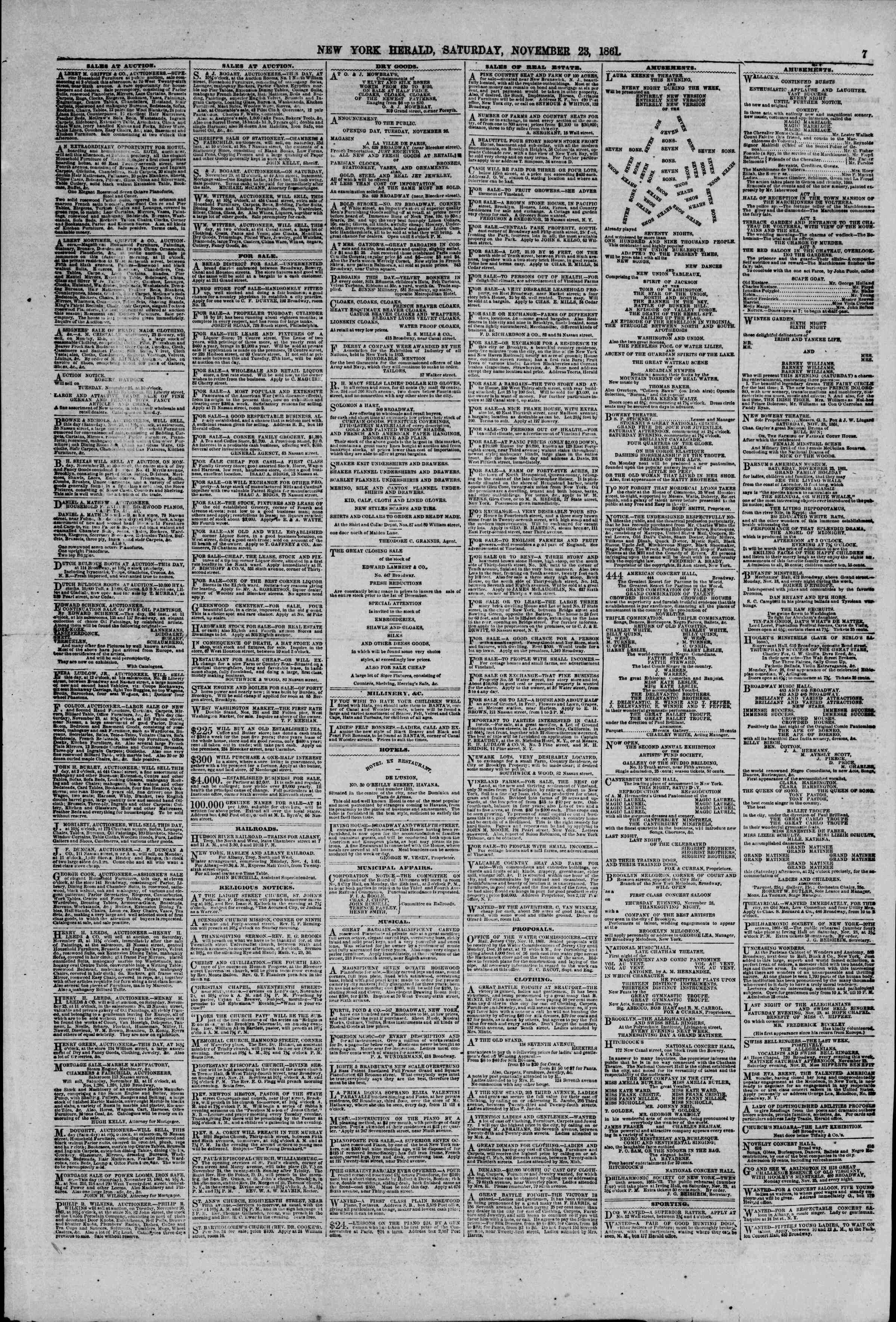 Newspaper of The New York Herald dated November 23, 1861 Page 7
