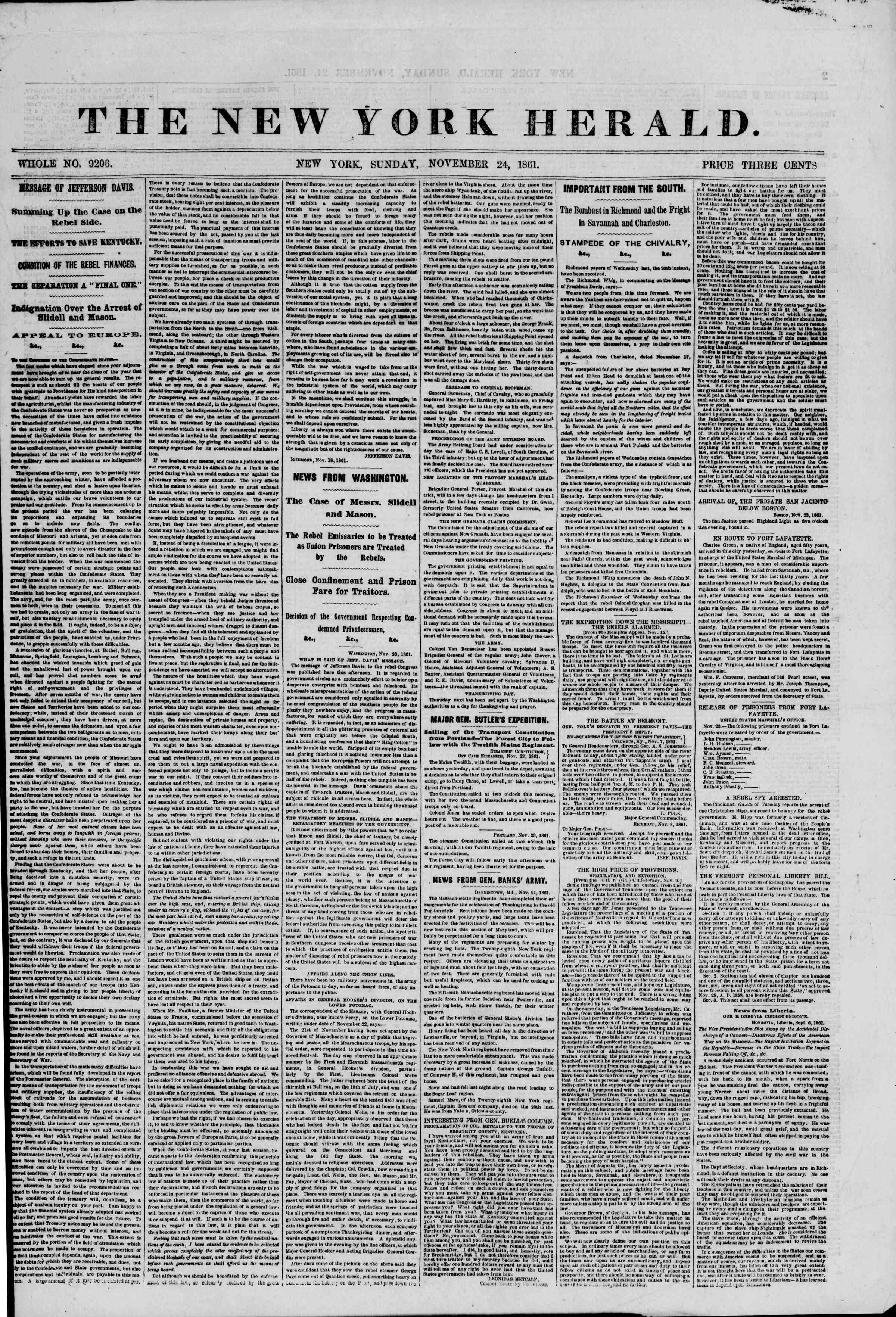 Newspaper of The New York Herald dated November 24, 1861 Page 1