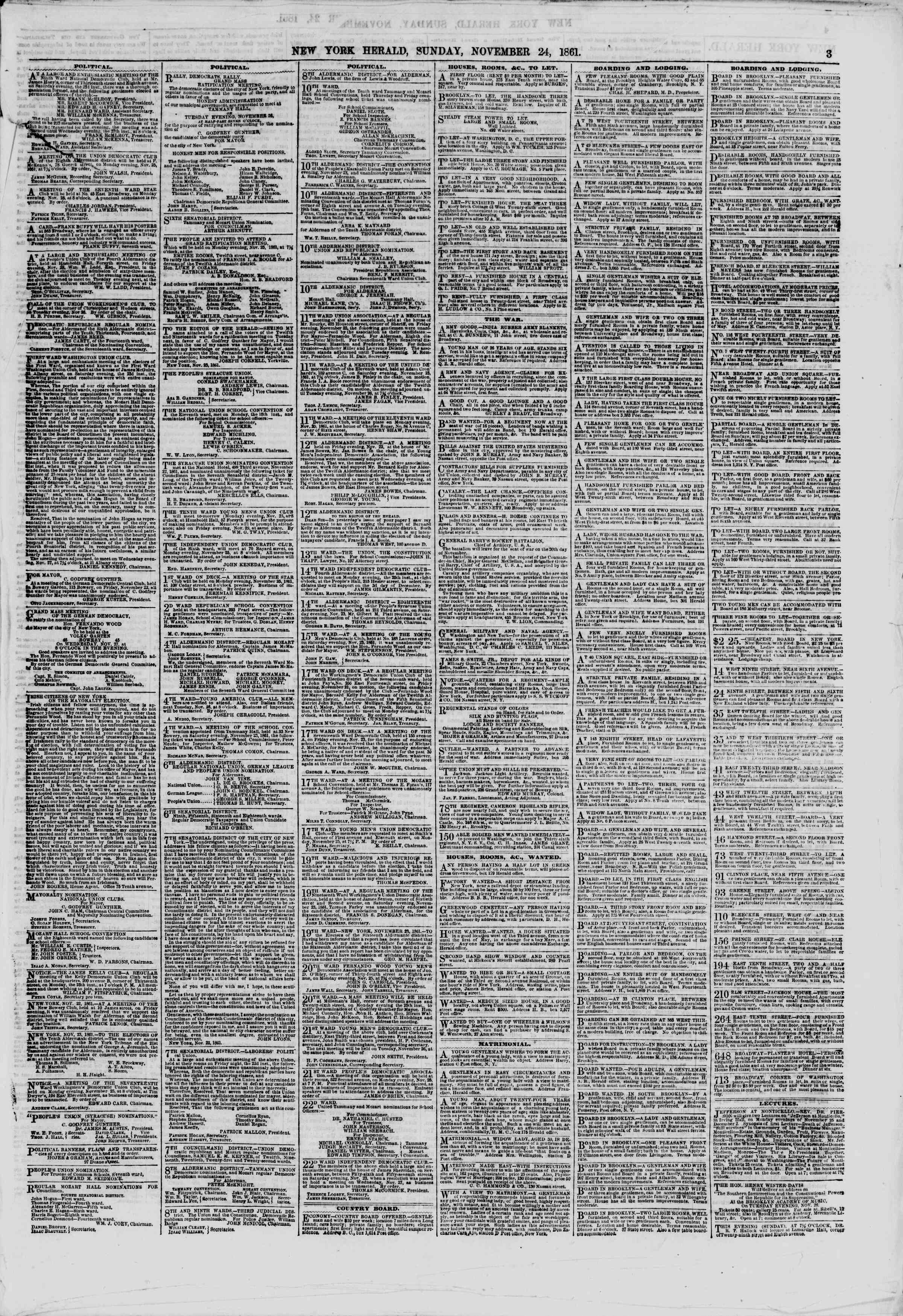 Newspaper of The New York Herald dated November 24, 1861 Page 3