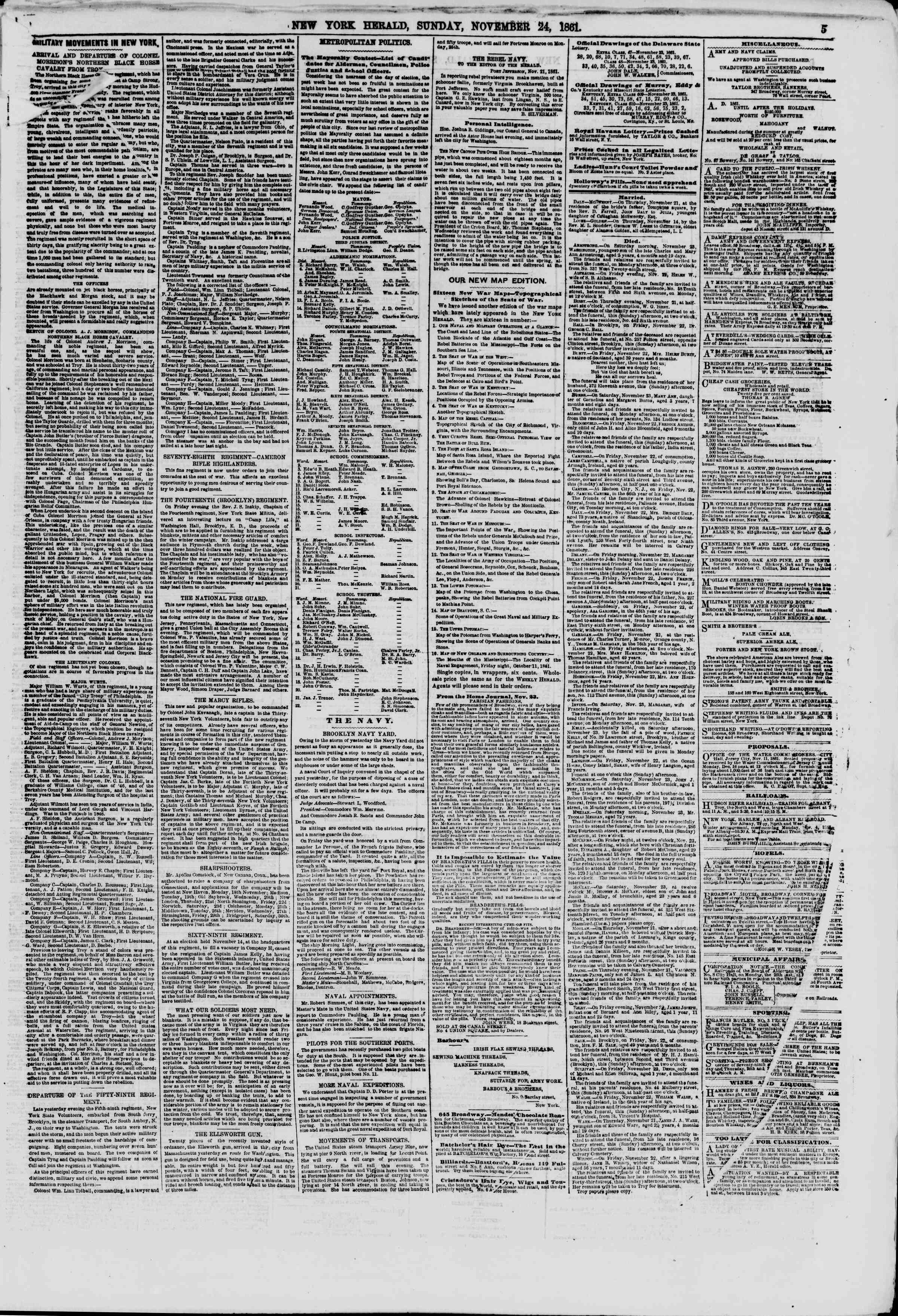 Newspaper of The New York Herald dated November 24, 1861 Page 5