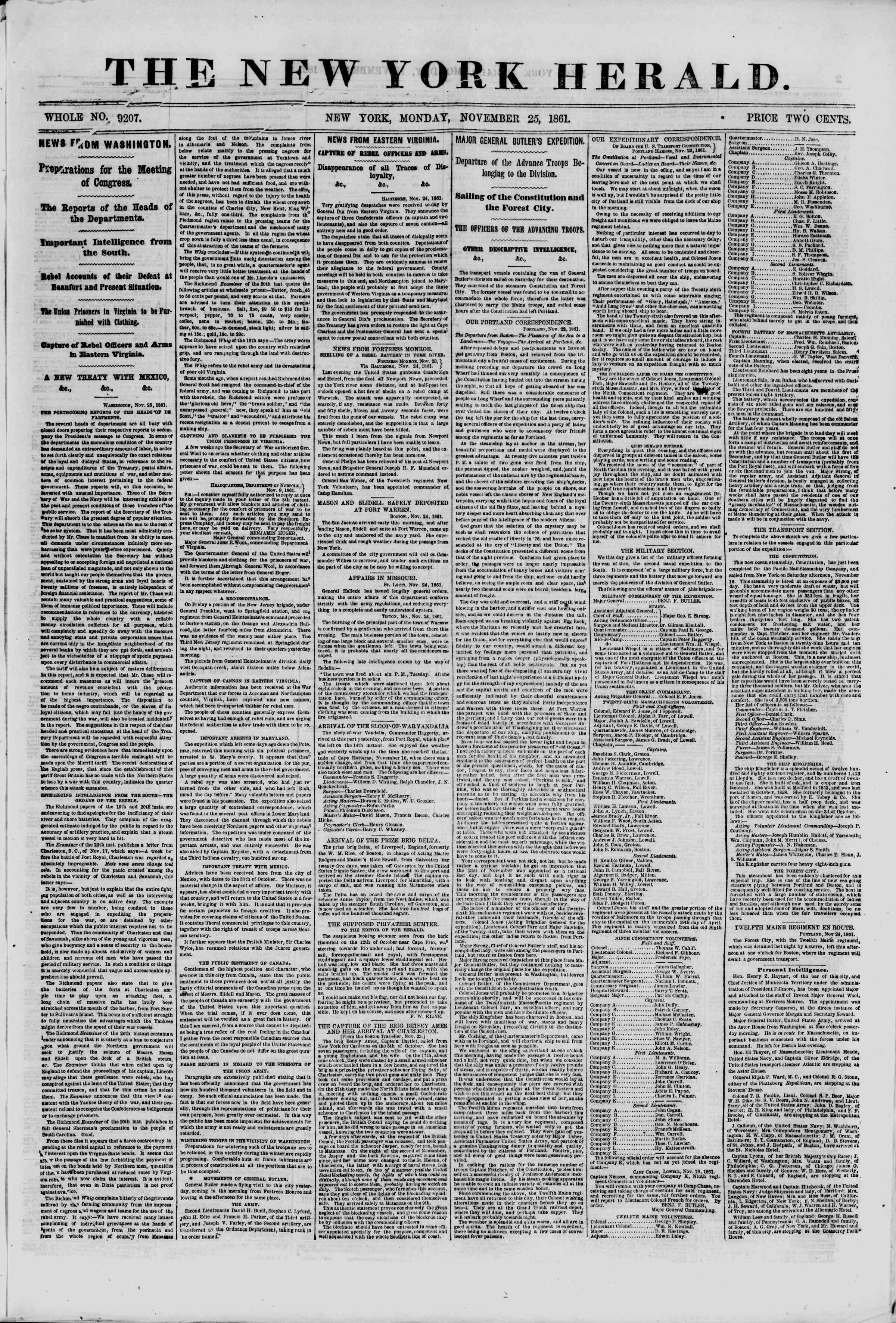 Newspaper of The New York Herald dated November 25, 1861 Page 1