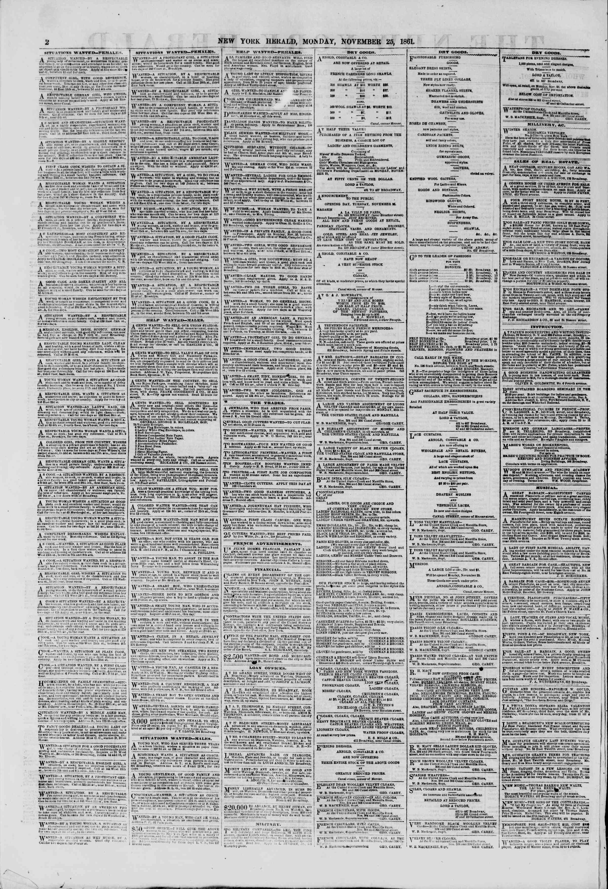 Newspaper of The New York Herald dated November 25, 1861 Page 2