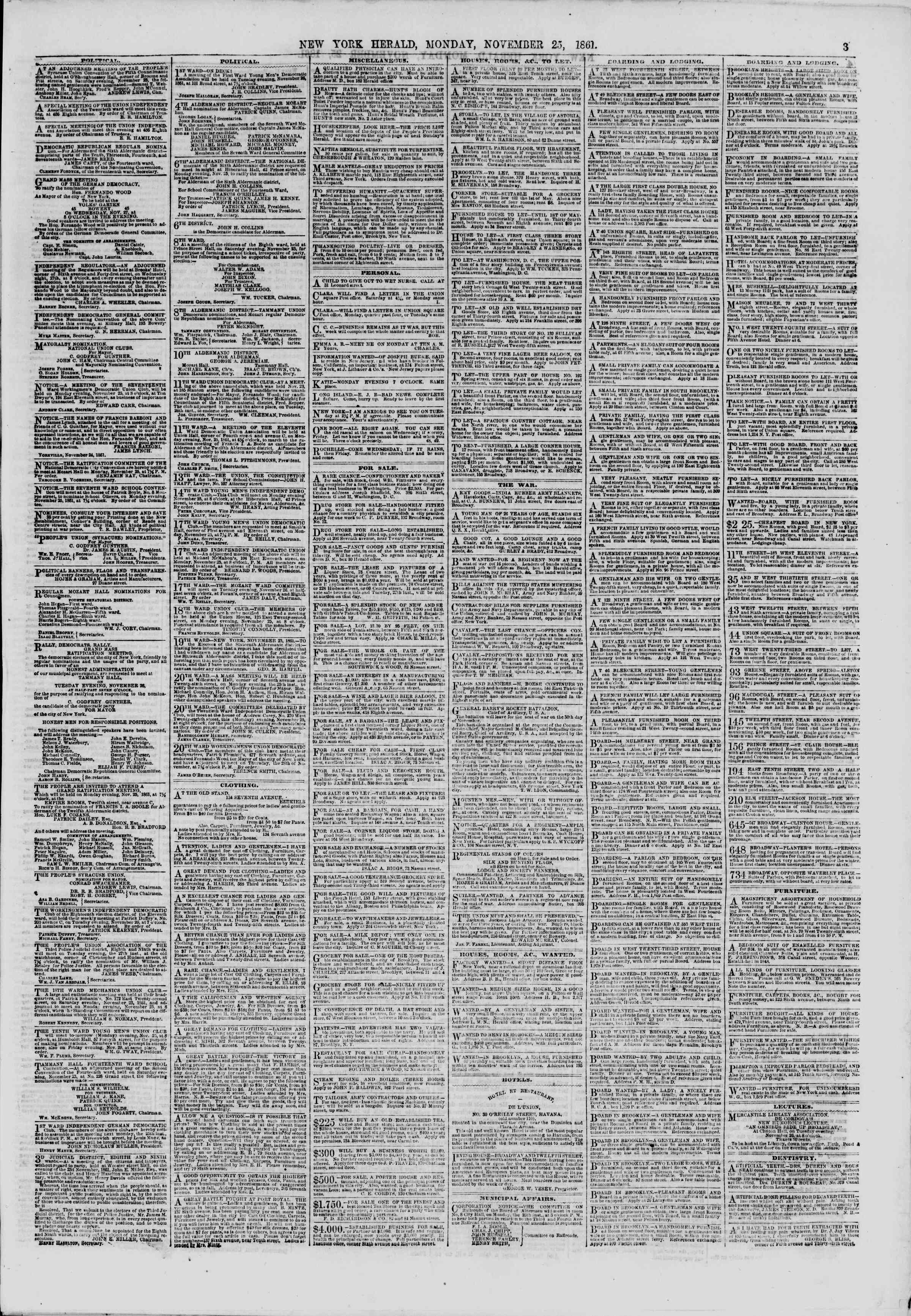 Newspaper of The New York Herald dated November 25, 1861 Page 3