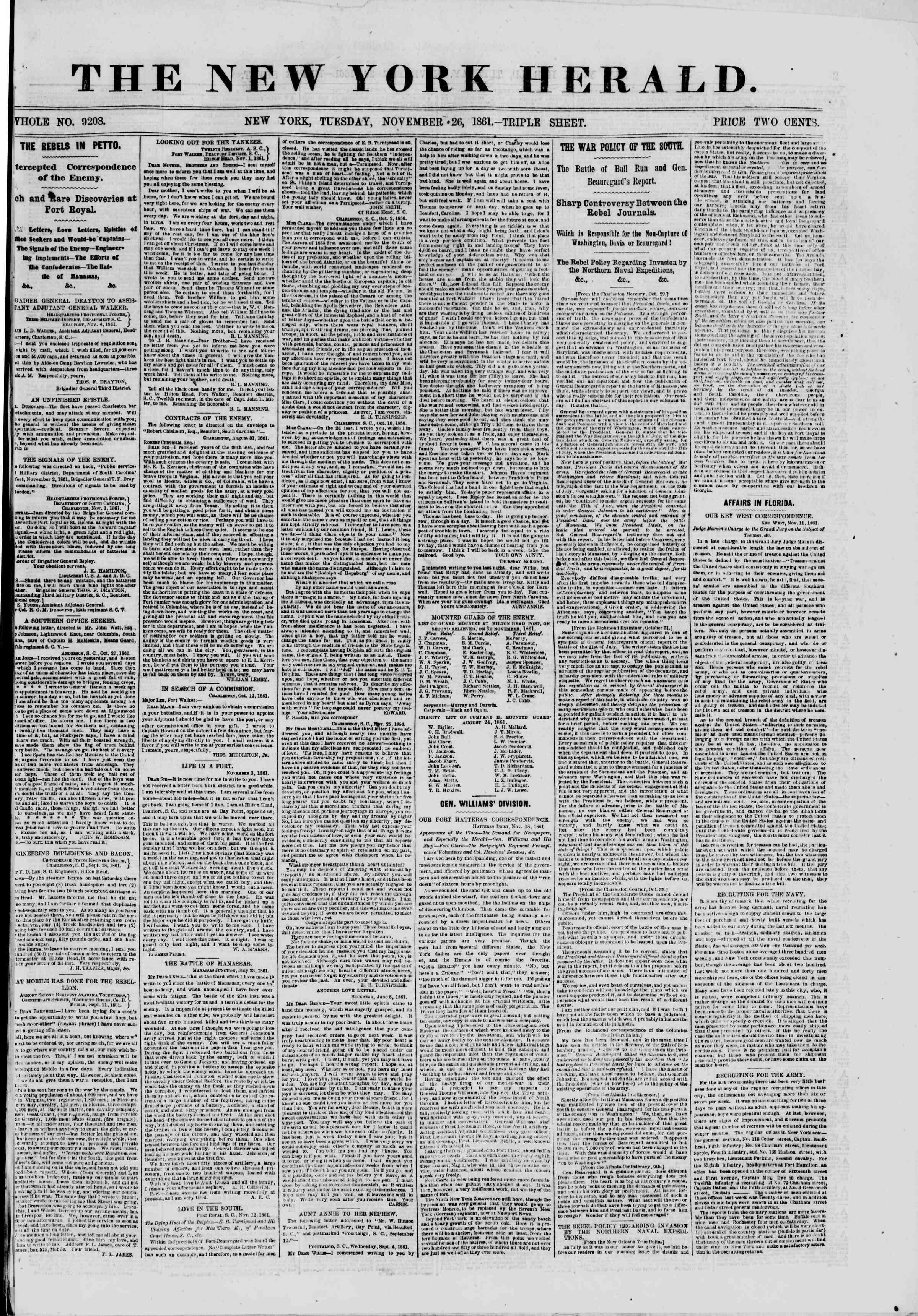 26 Kasım 1861 tarihli The New York Herald Gazetesi Sayfa 1
