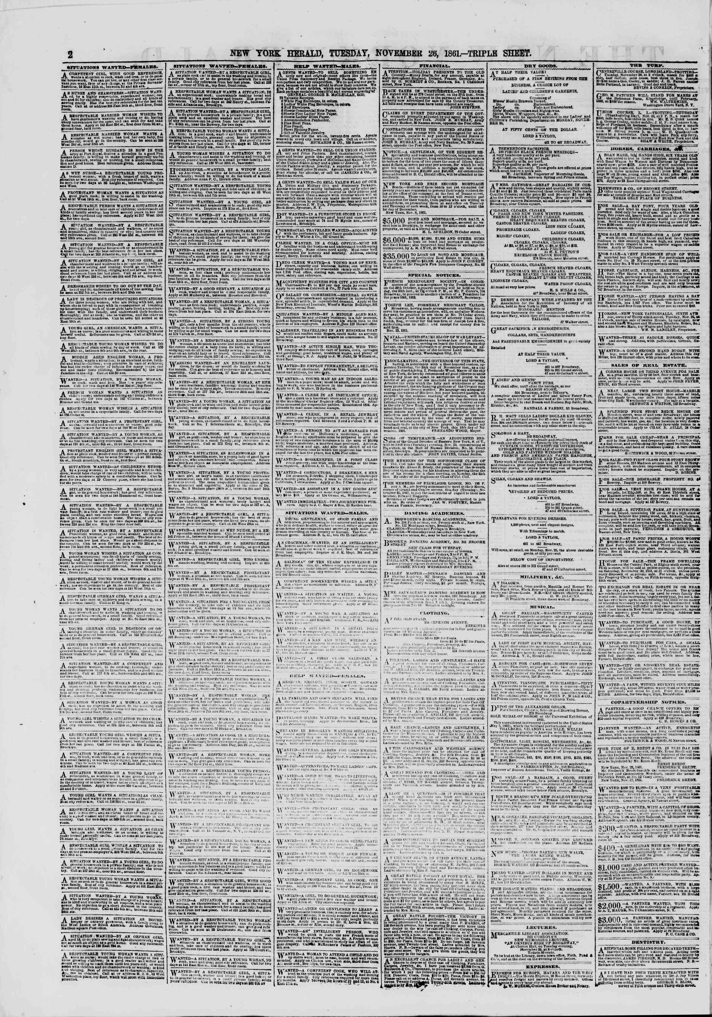 Newspaper of The New York Herald dated November 26, 1861 Page 2