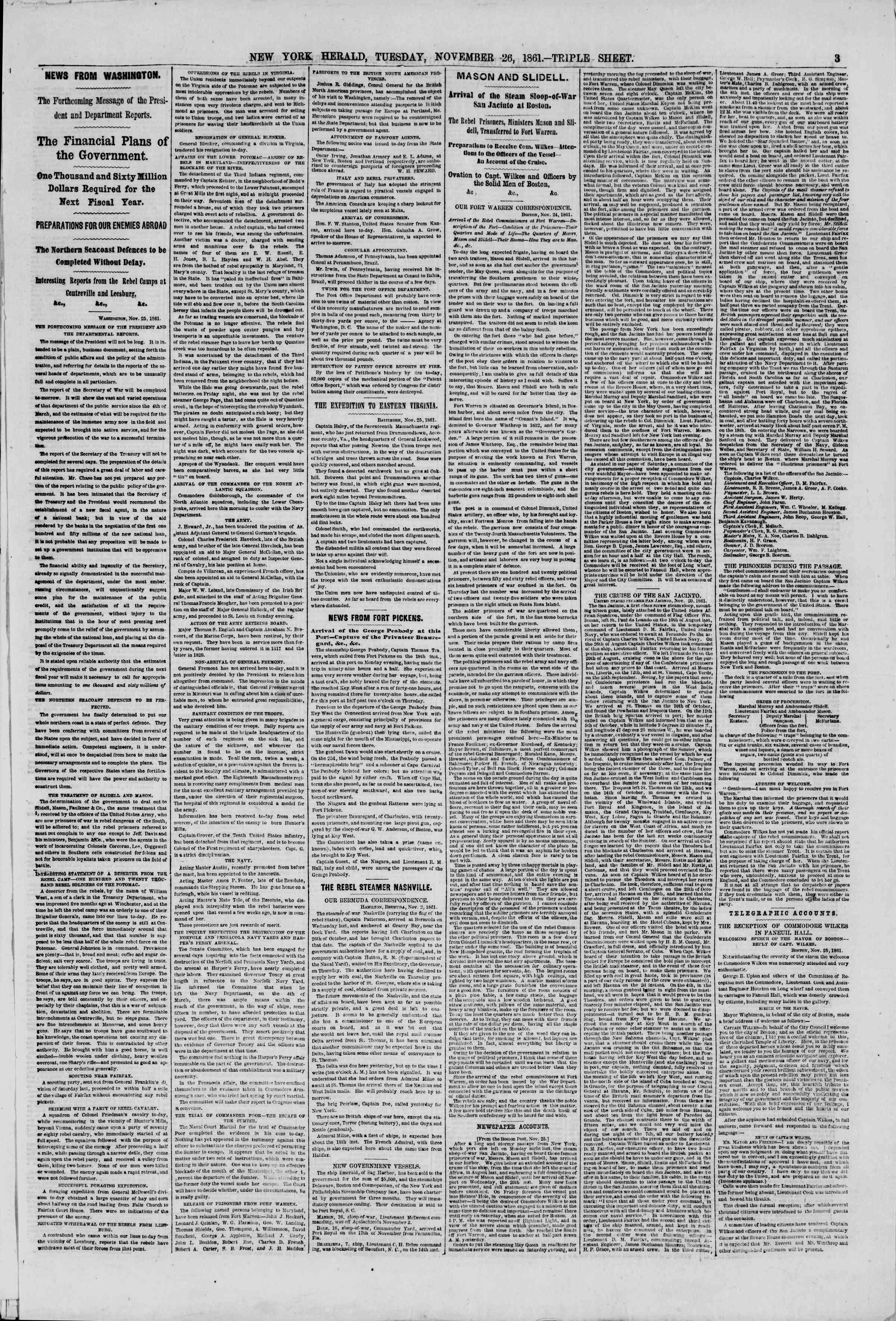 Newspaper of The New York Herald dated November 26, 1861 Page 3
