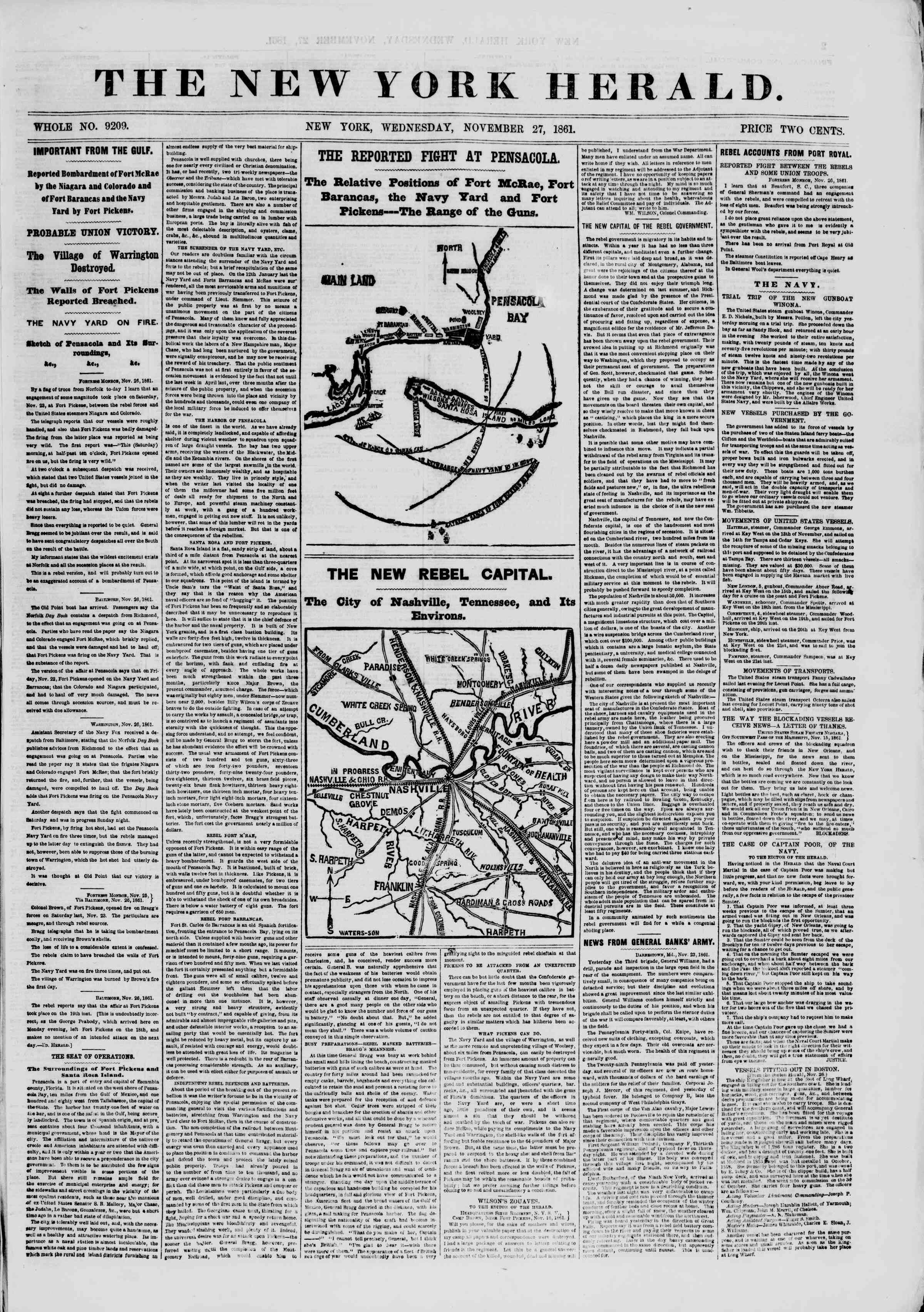 Newspaper of The New York Herald dated November 27, 1861 Page 1