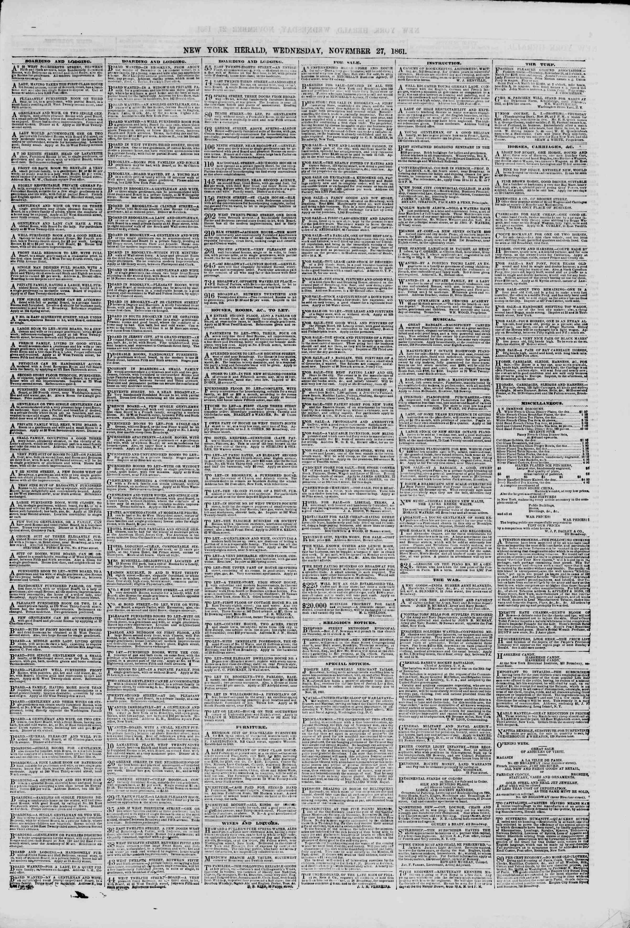 Newspaper of The New York Herald dated November 27, 1861 Page 3
