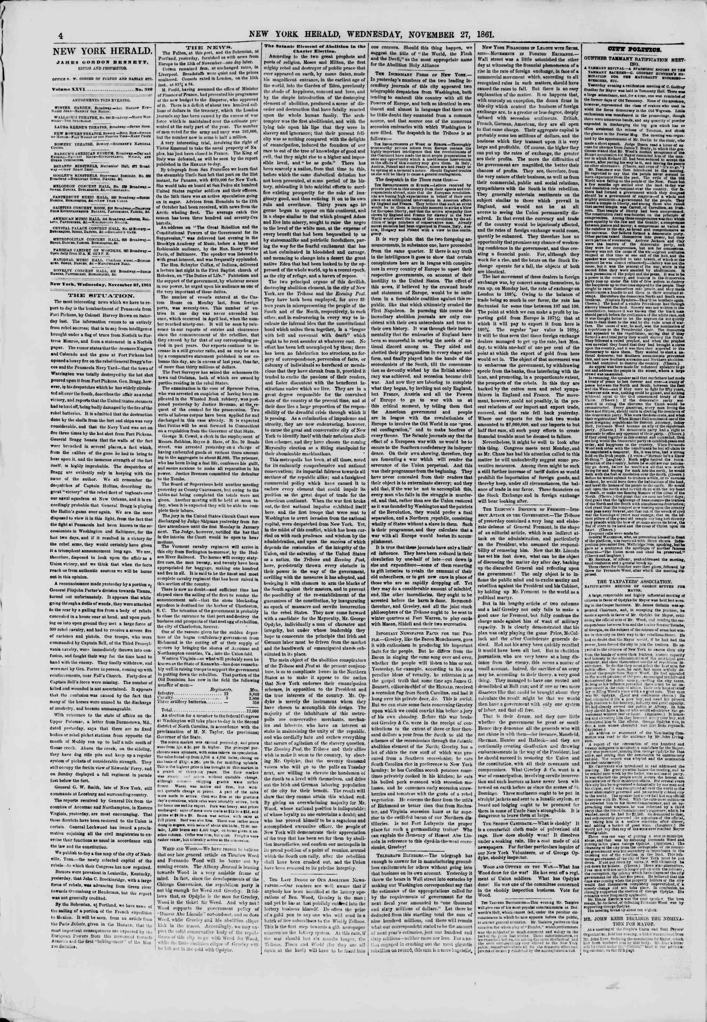 Newspaper of The New York Herald dated November 27, 1861 Page 4