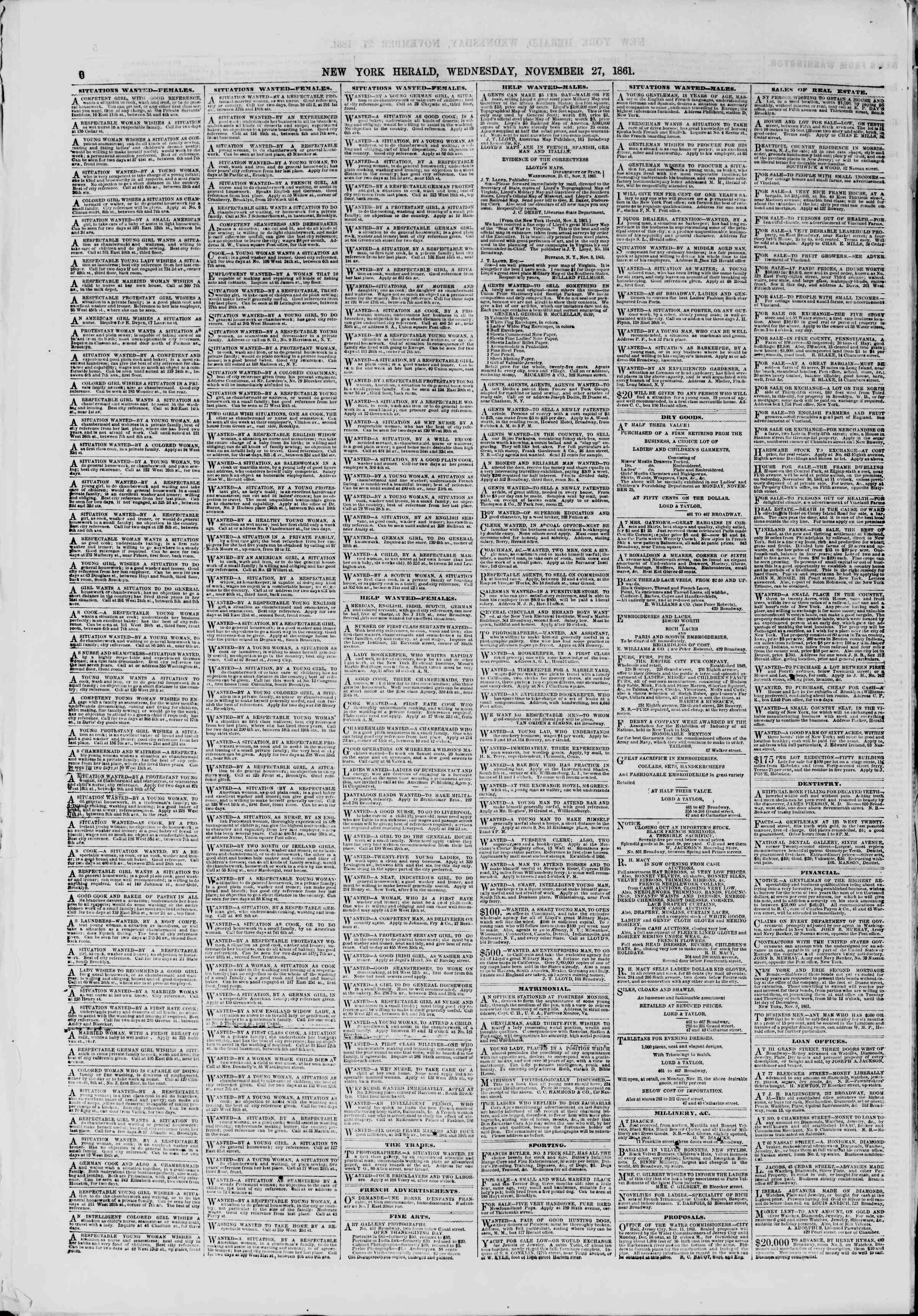 Newspaper of The New York Herald dated November 27, 1861 Page 6