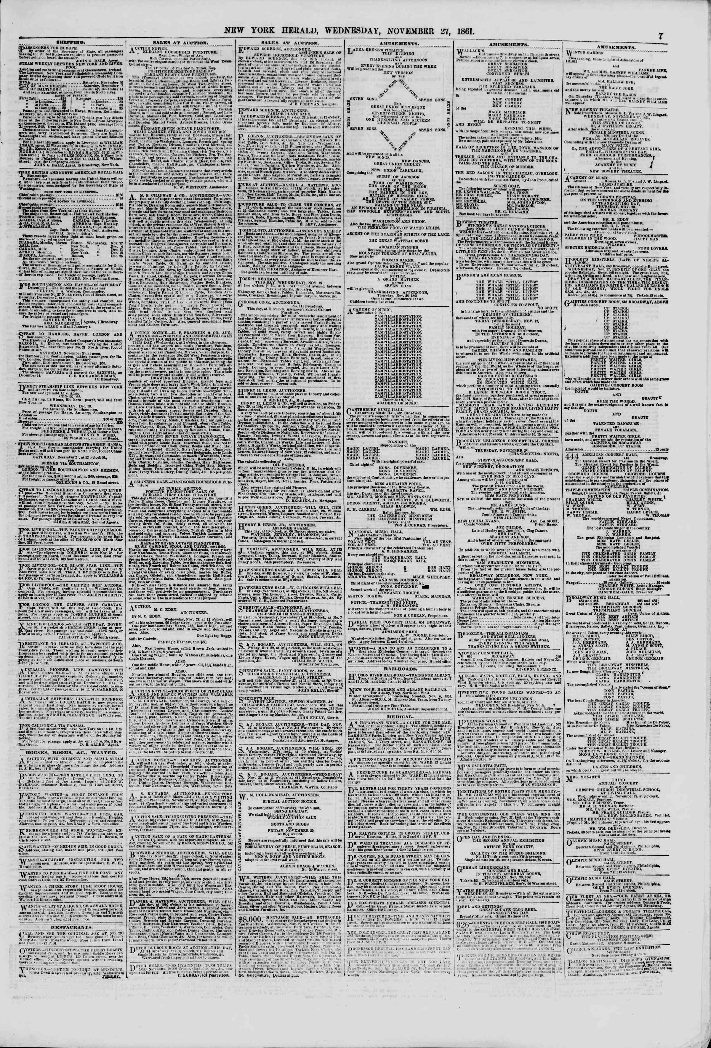 Newspaper of The New York Herald dated November 27, 1861 Page 7