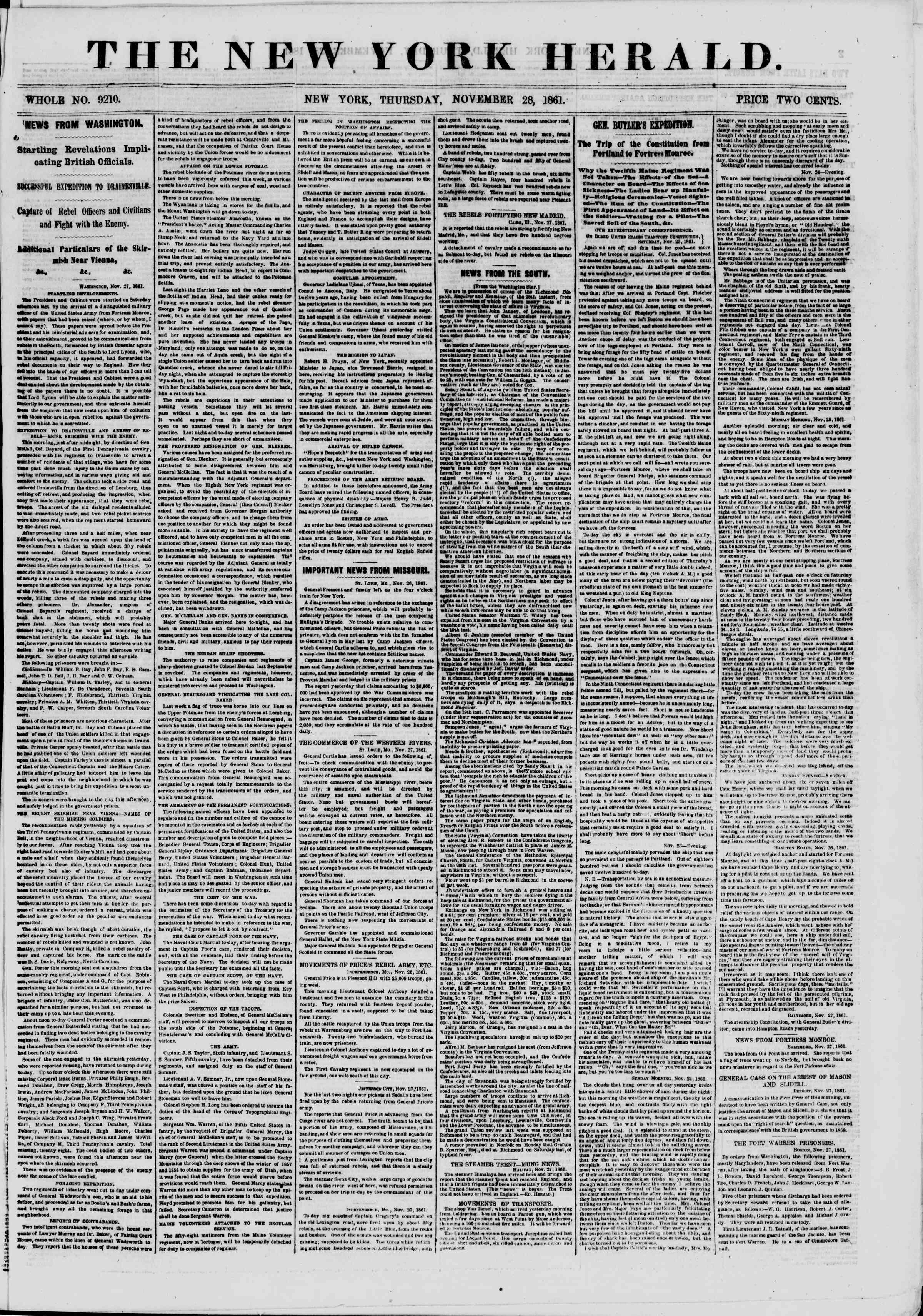 Newspaper of The New York Herald dated November 28, 1861 Page 1