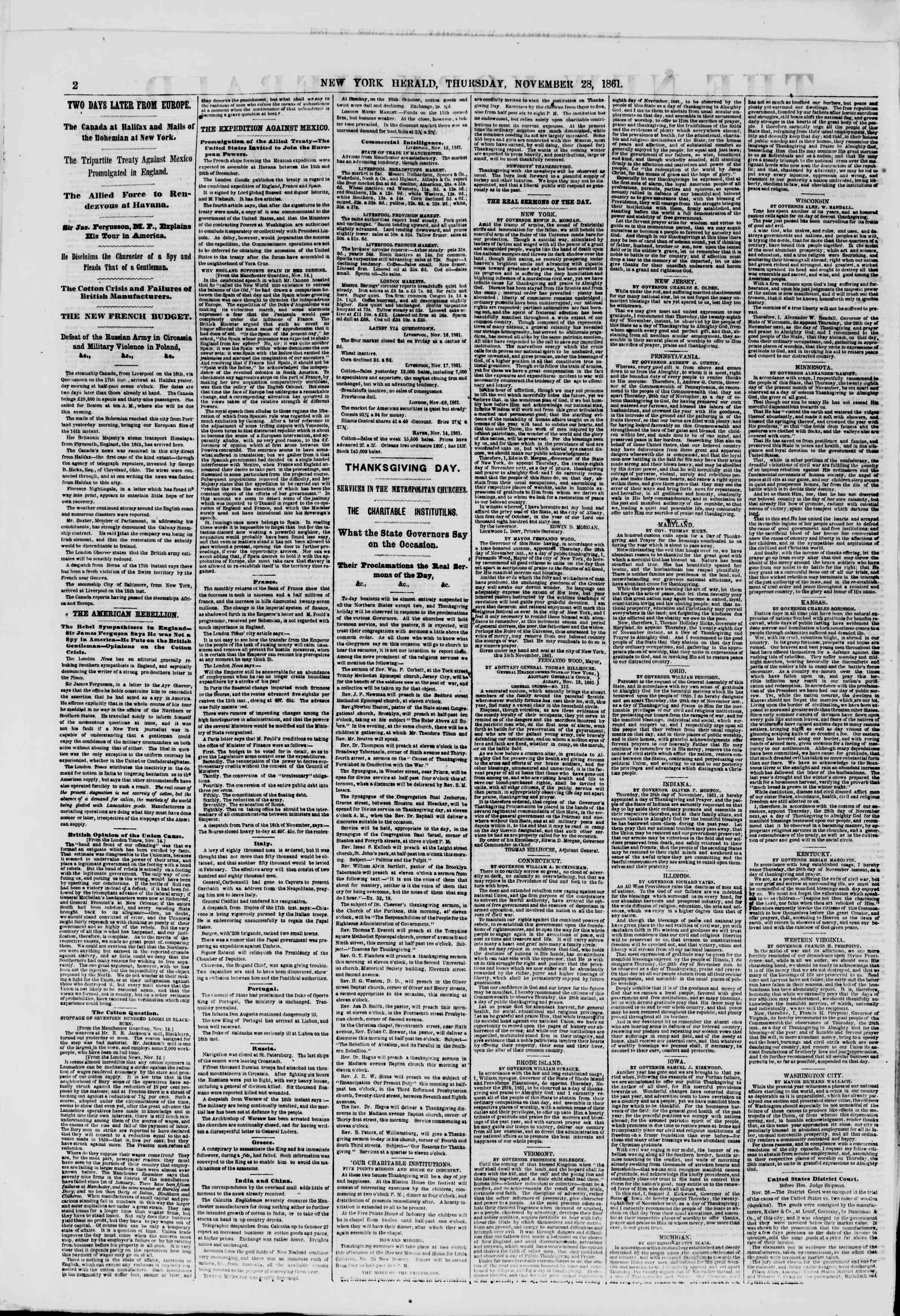 Newspaper of The New York Herald dated November 28, 1861 Page 2