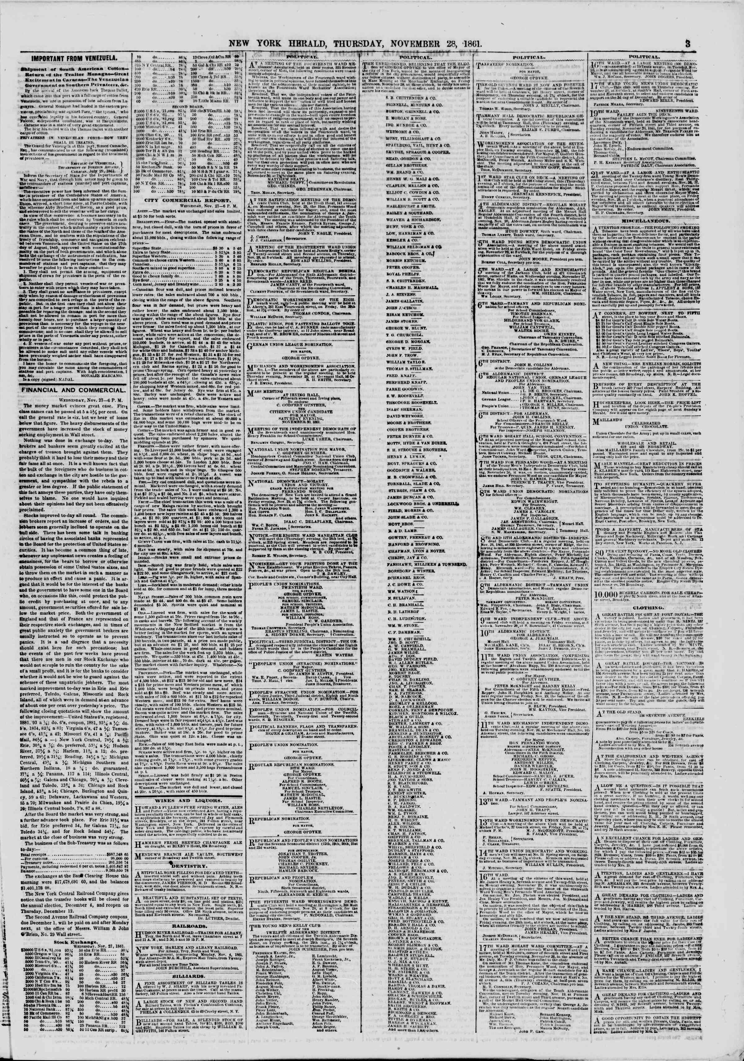 Newspaper of The New York Herald dated November 28, 1861 Page 3