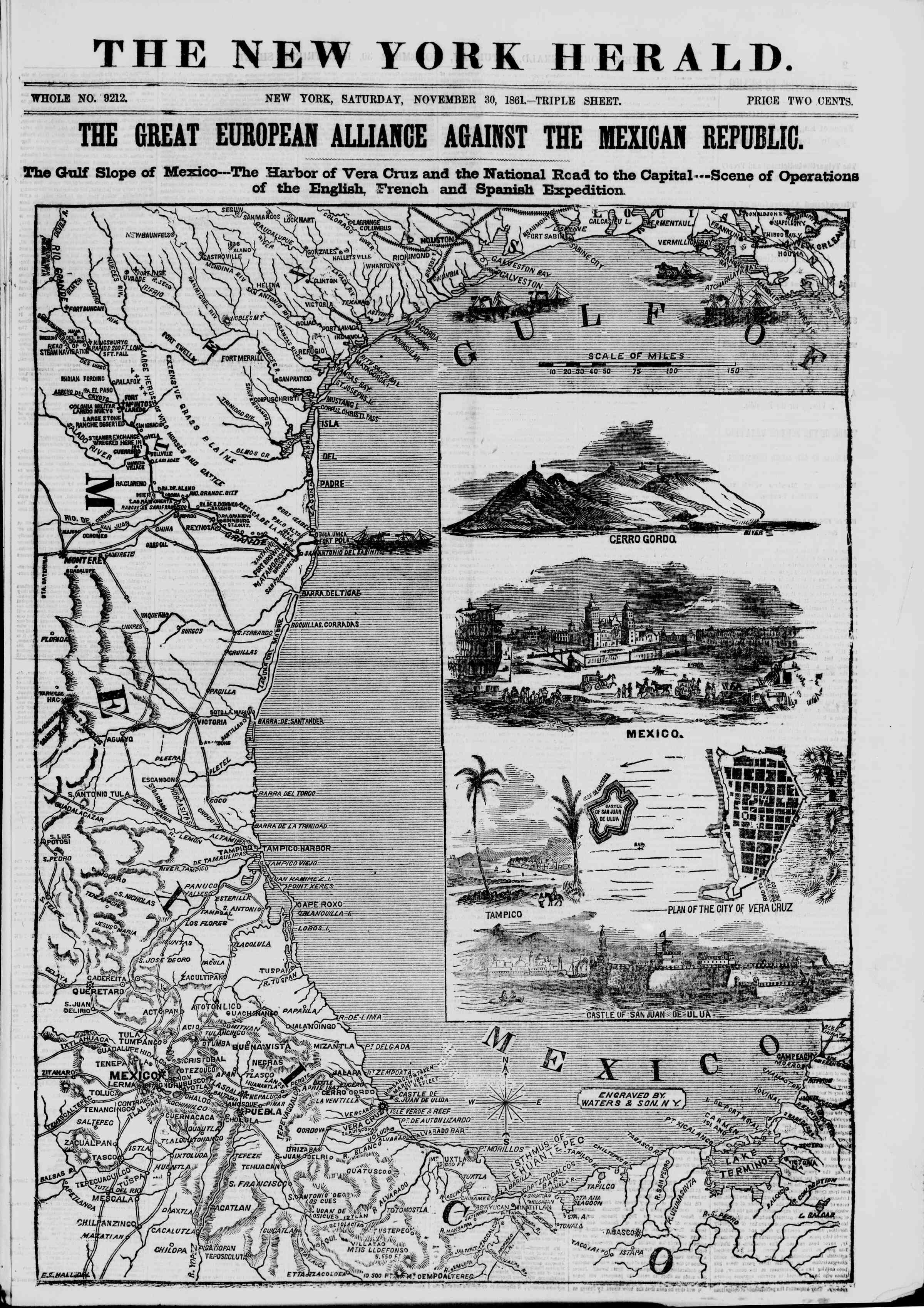 Newspaper of The New York Herald dated November 30, 1861 Page 1