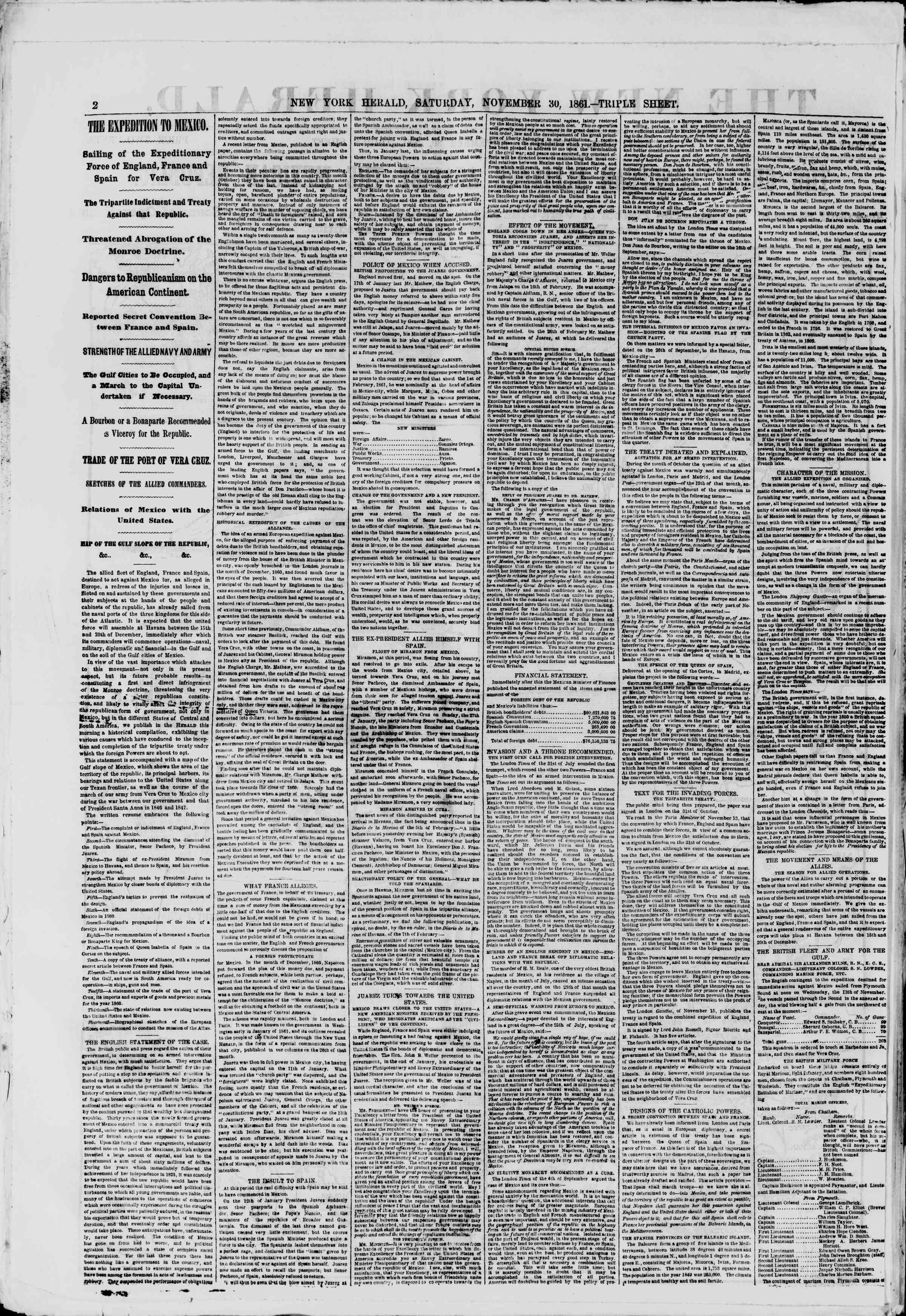 Newspaper of The New York Herald dated November 30, 1861 Page 2