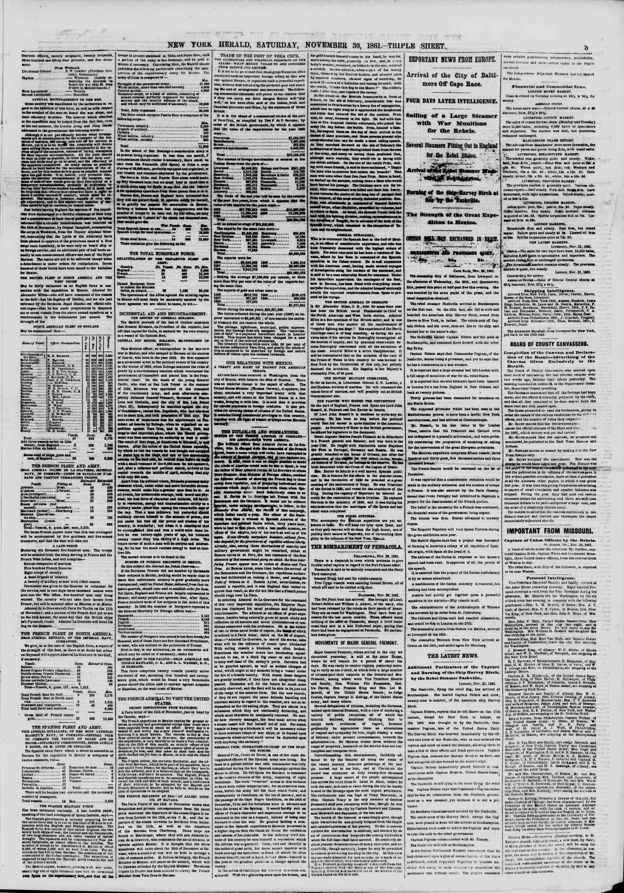 Newspaper of The New York Herald dated November 30, 1861 Page 3