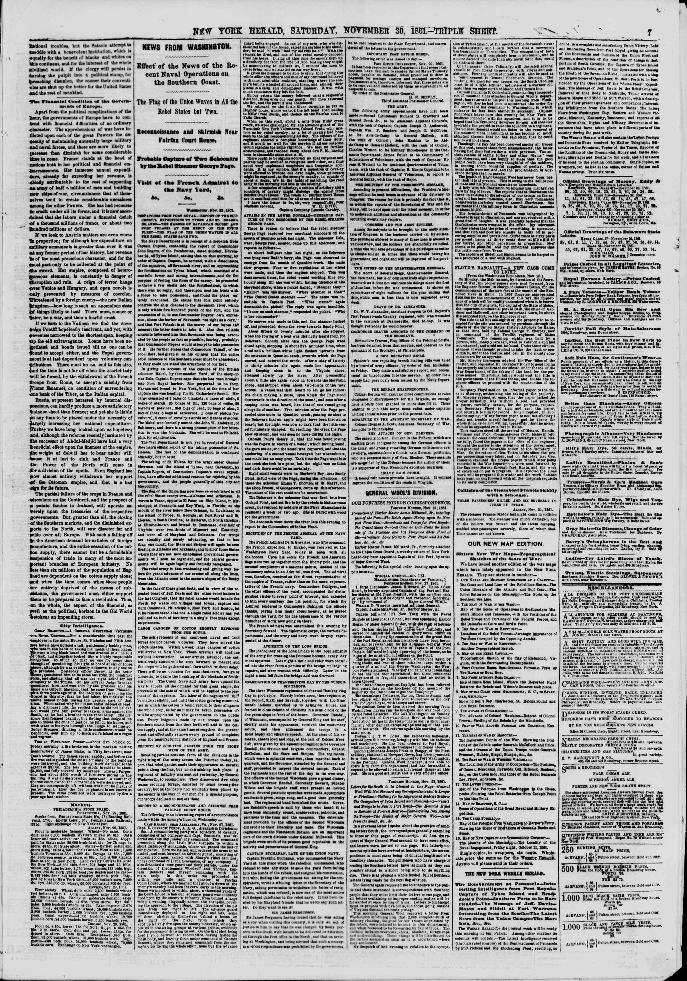 Newspaper of The New York Herald dated November 30, 1861 Page 7