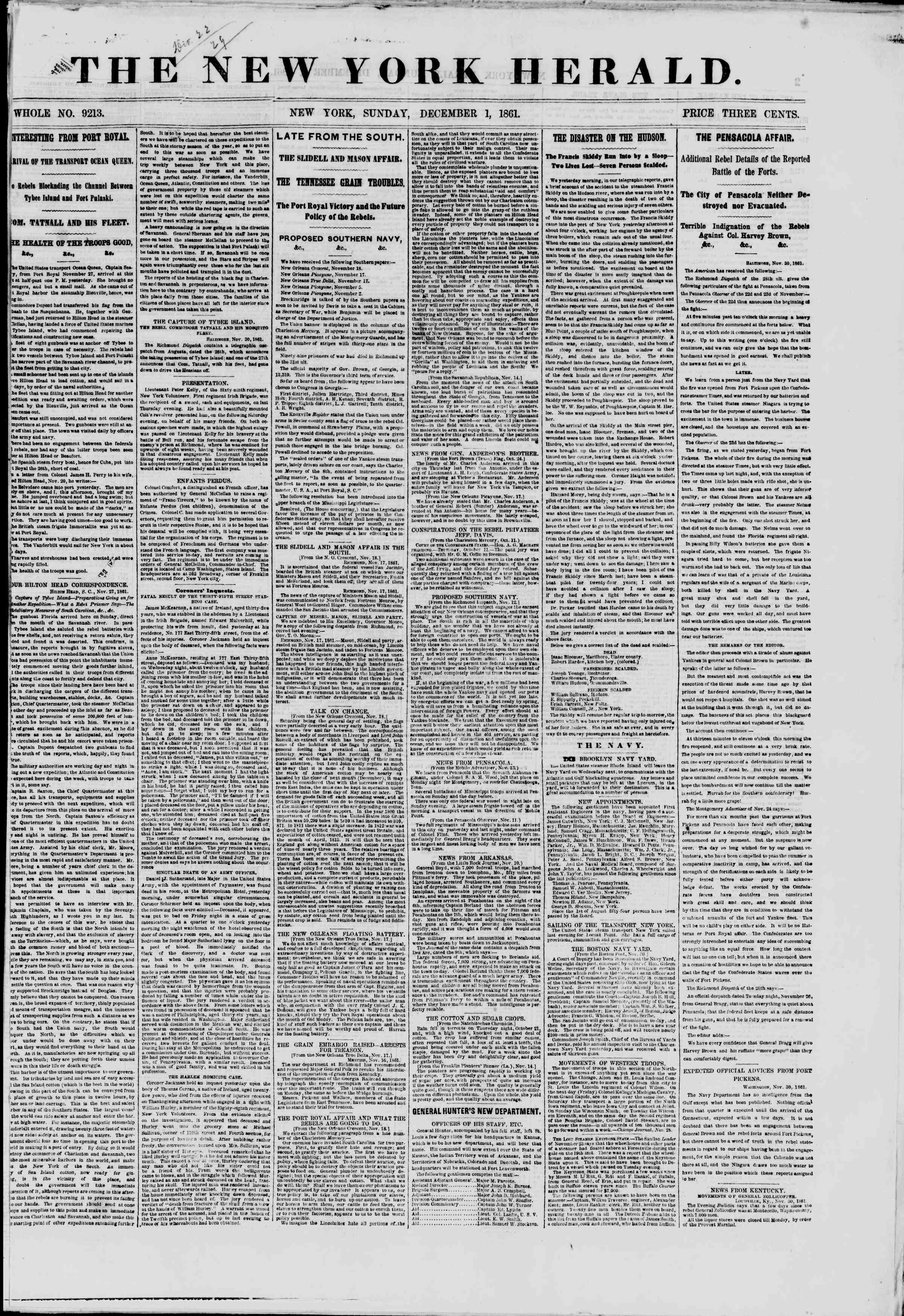 Newspaper of The New York Herald dated December 1, 1861 Page 1