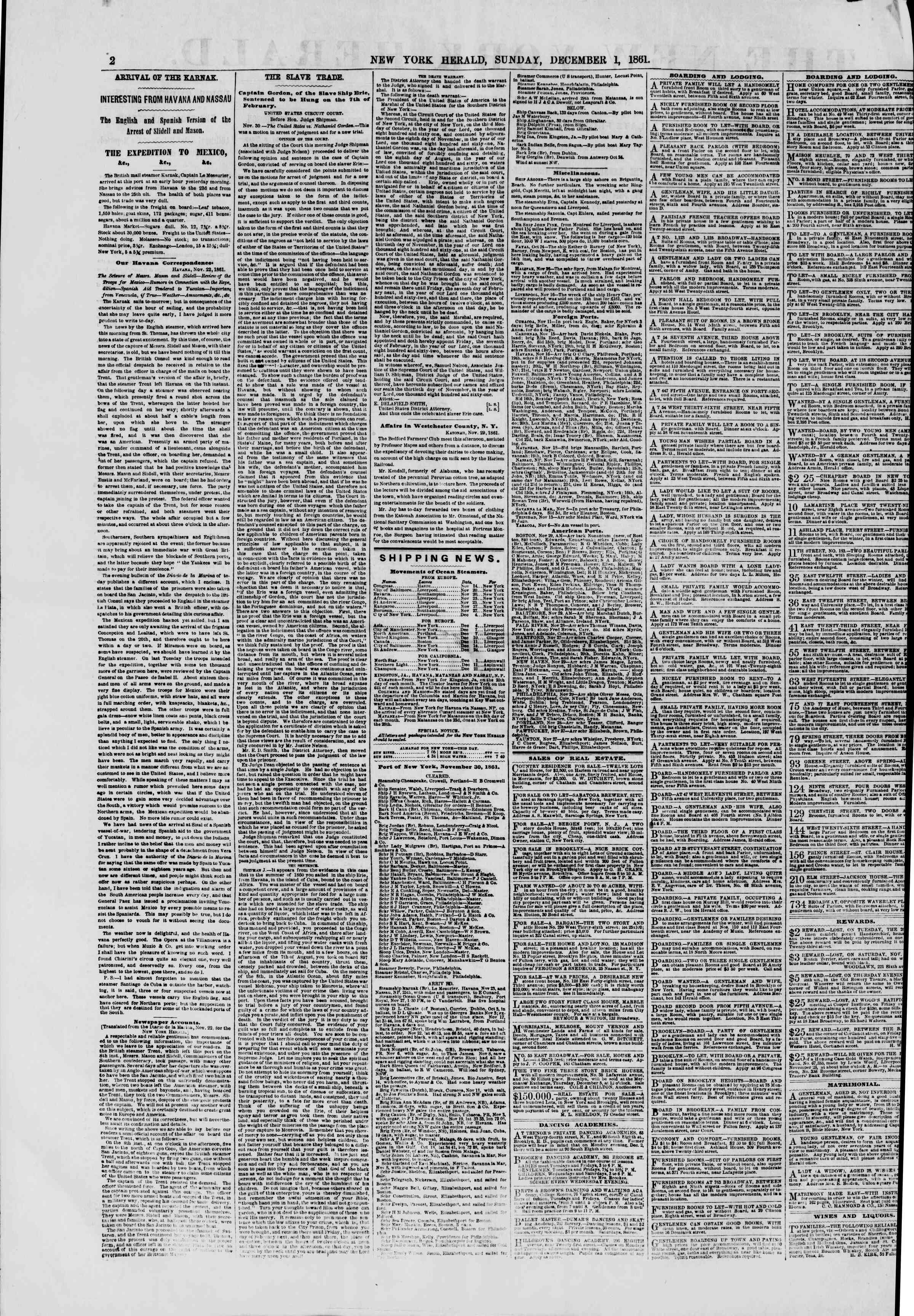 Newspaper of The New York Herald dated December 1, 1861 Page 2
