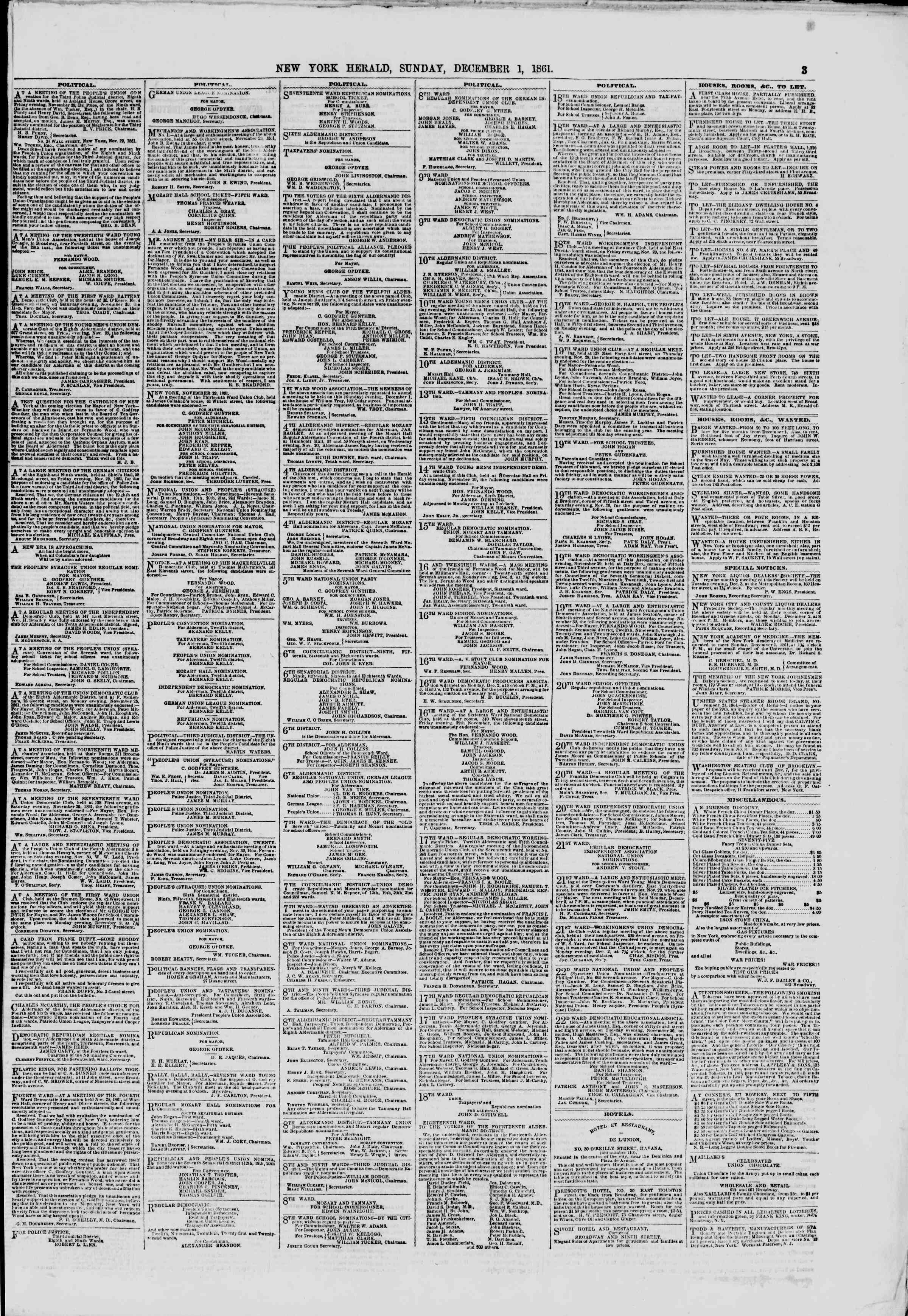 Newspaper of The New York Herald dated December 1, 1861 Page 3