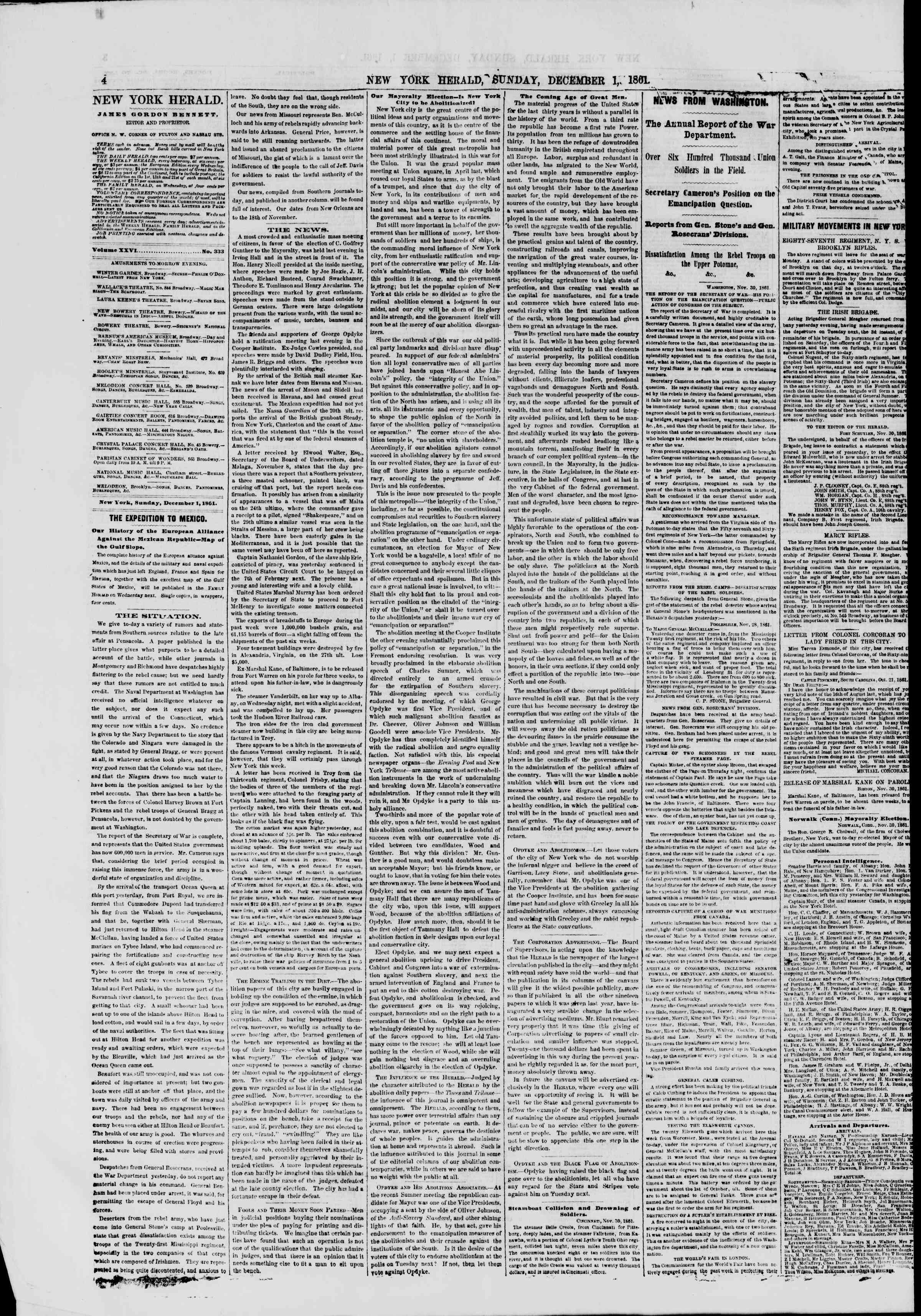 Newspaper of The New York Herald dated December 1, 1861 Page 4