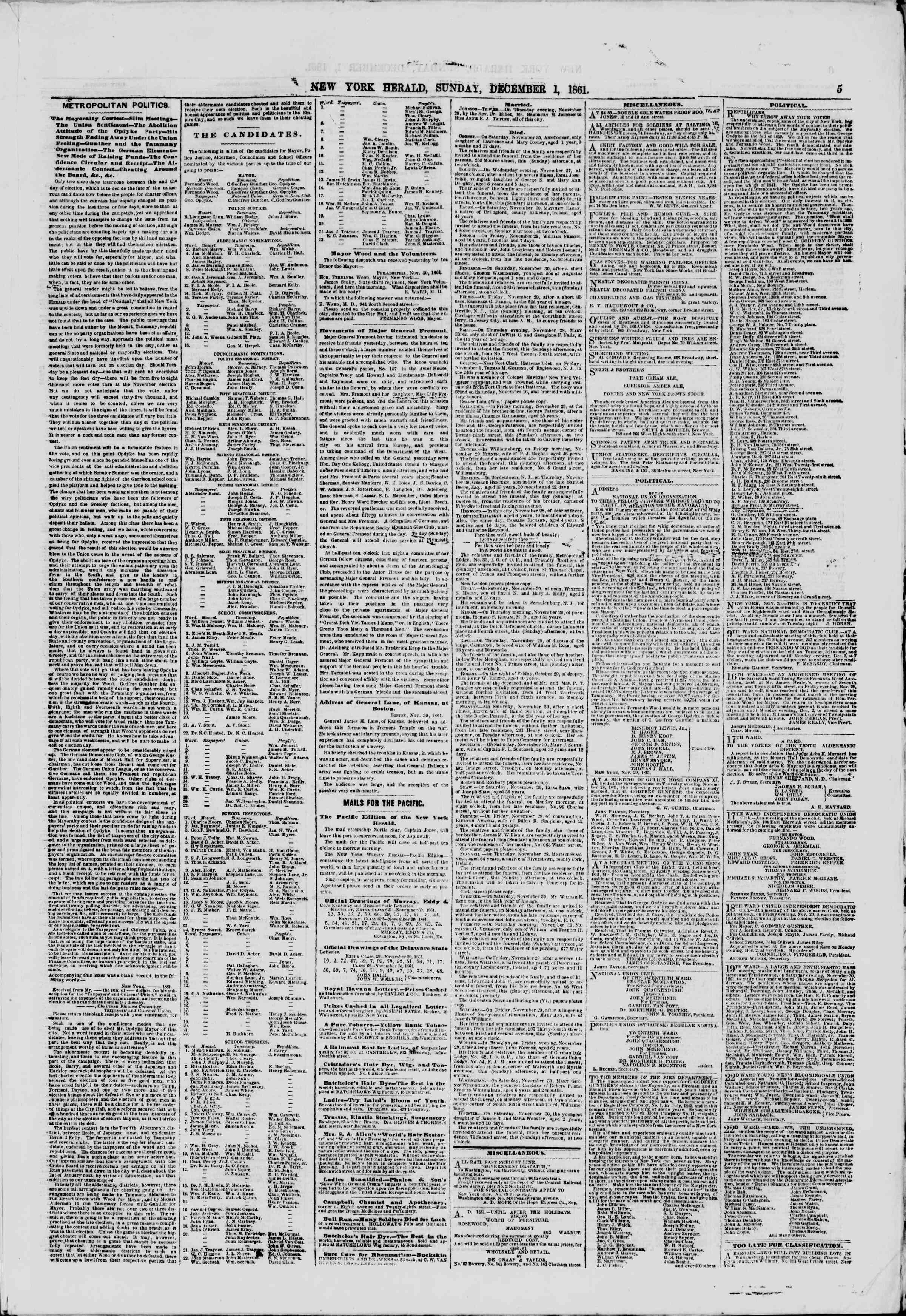 Newspaper of The New York Herald dated December 1, 1861 Page 5