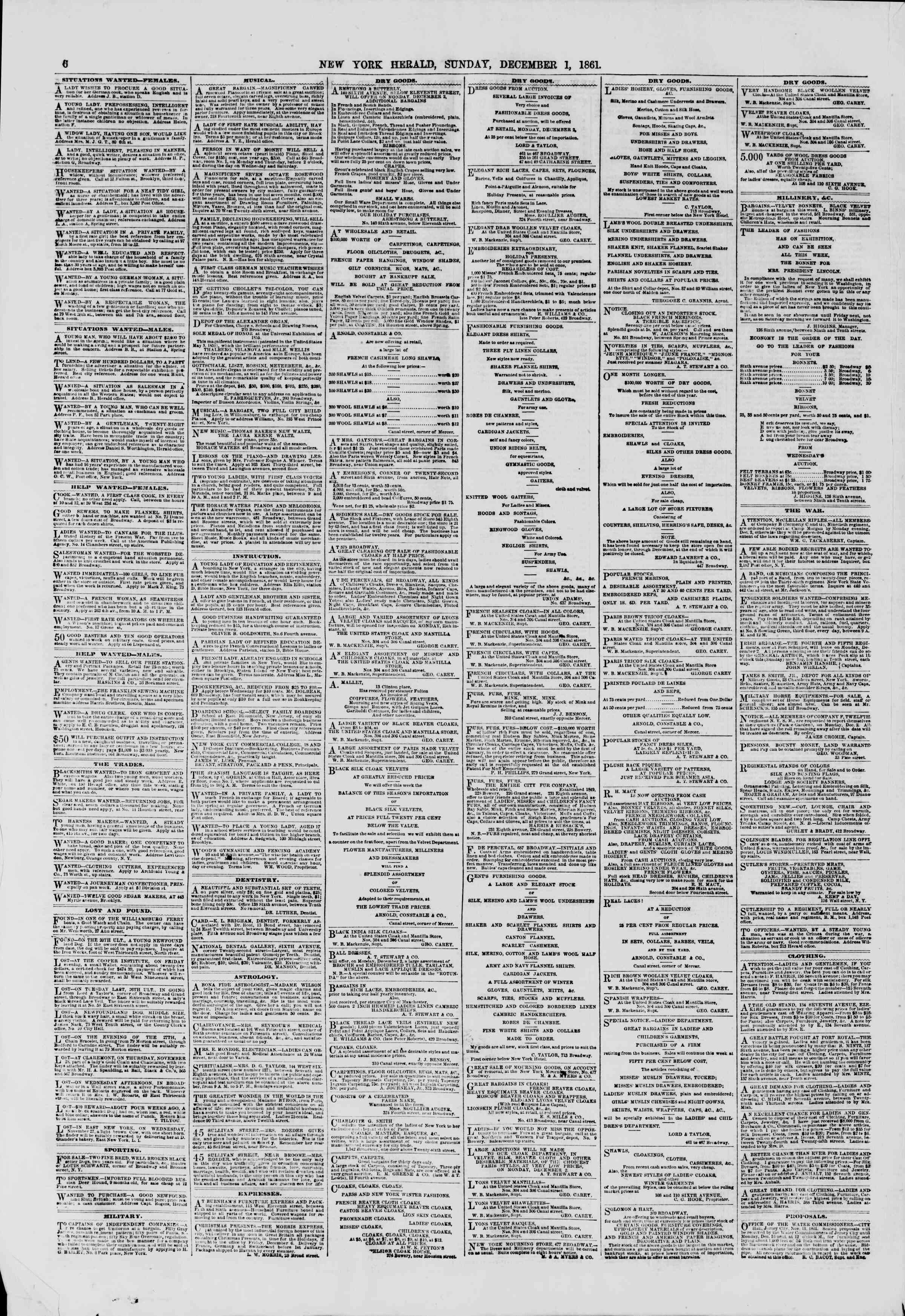 Newspaper of The New York Herald dated December 1, 1861 Page 6