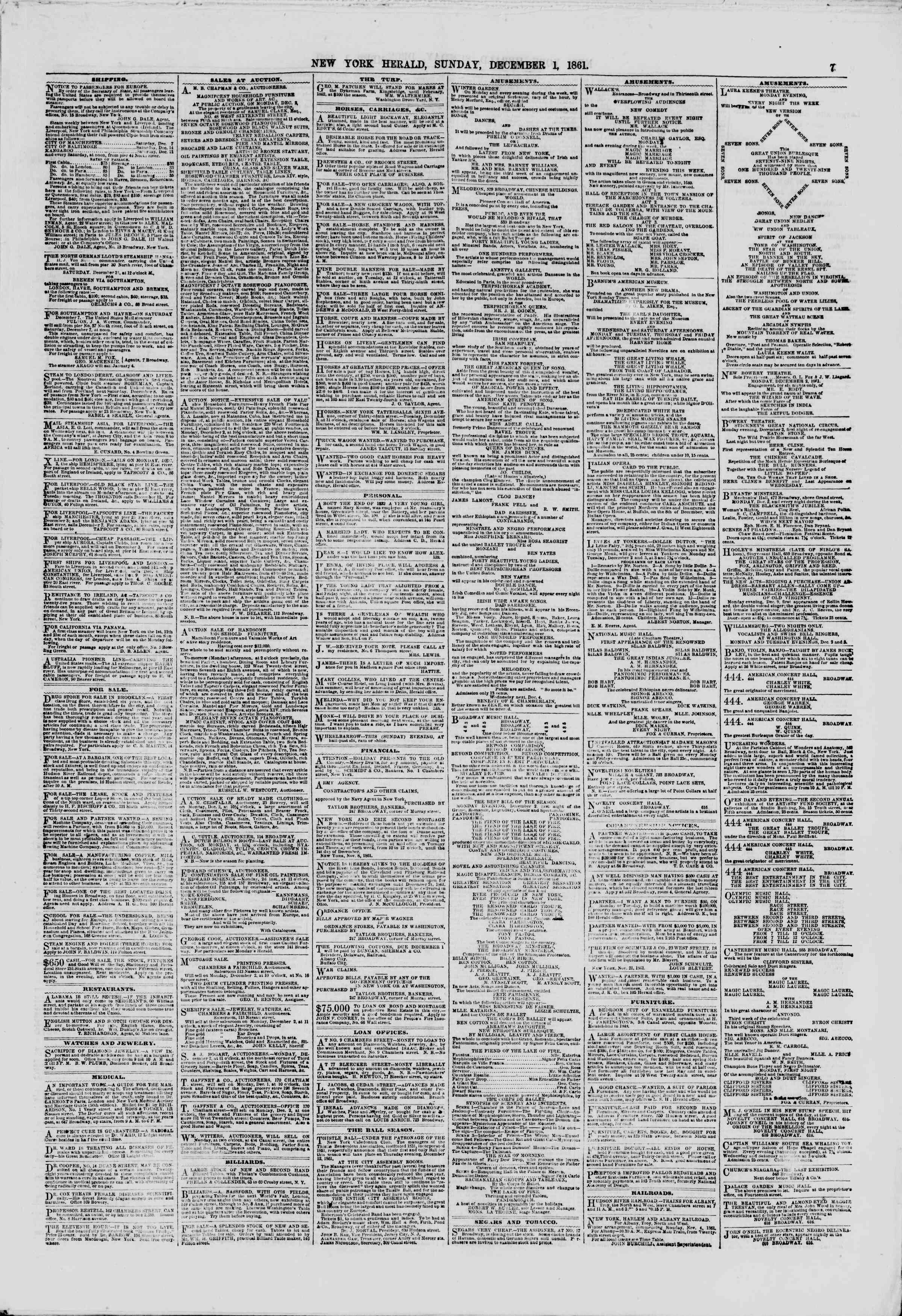 Newspaper of The New York Herald dated December 1, 1861 Page 7