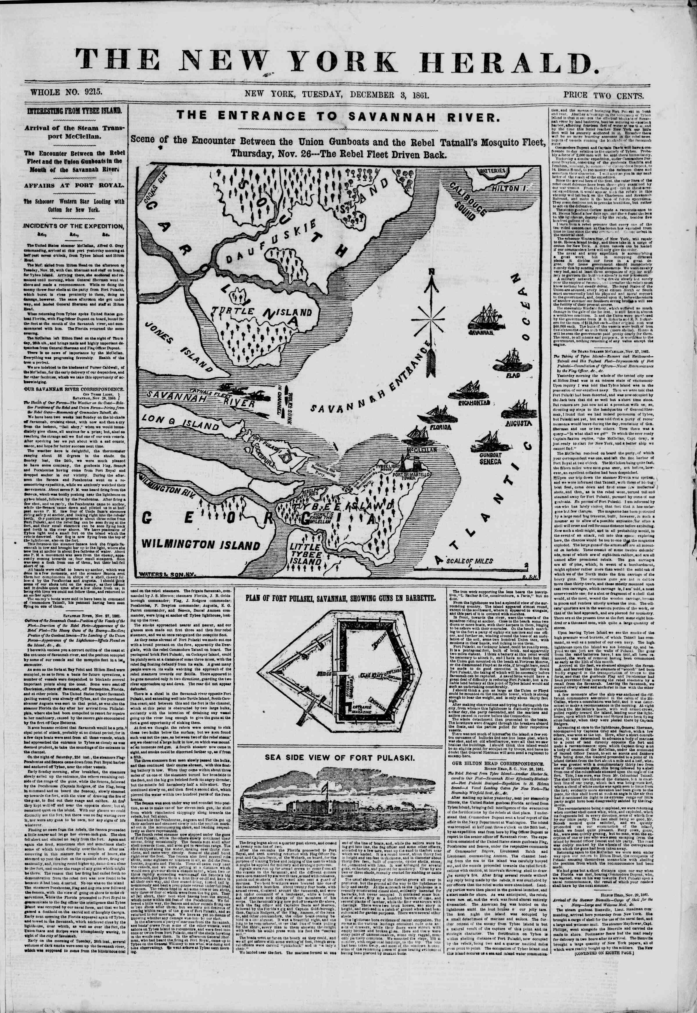 Newspaper of The New York Herald dated December 3, 1861 Page 1