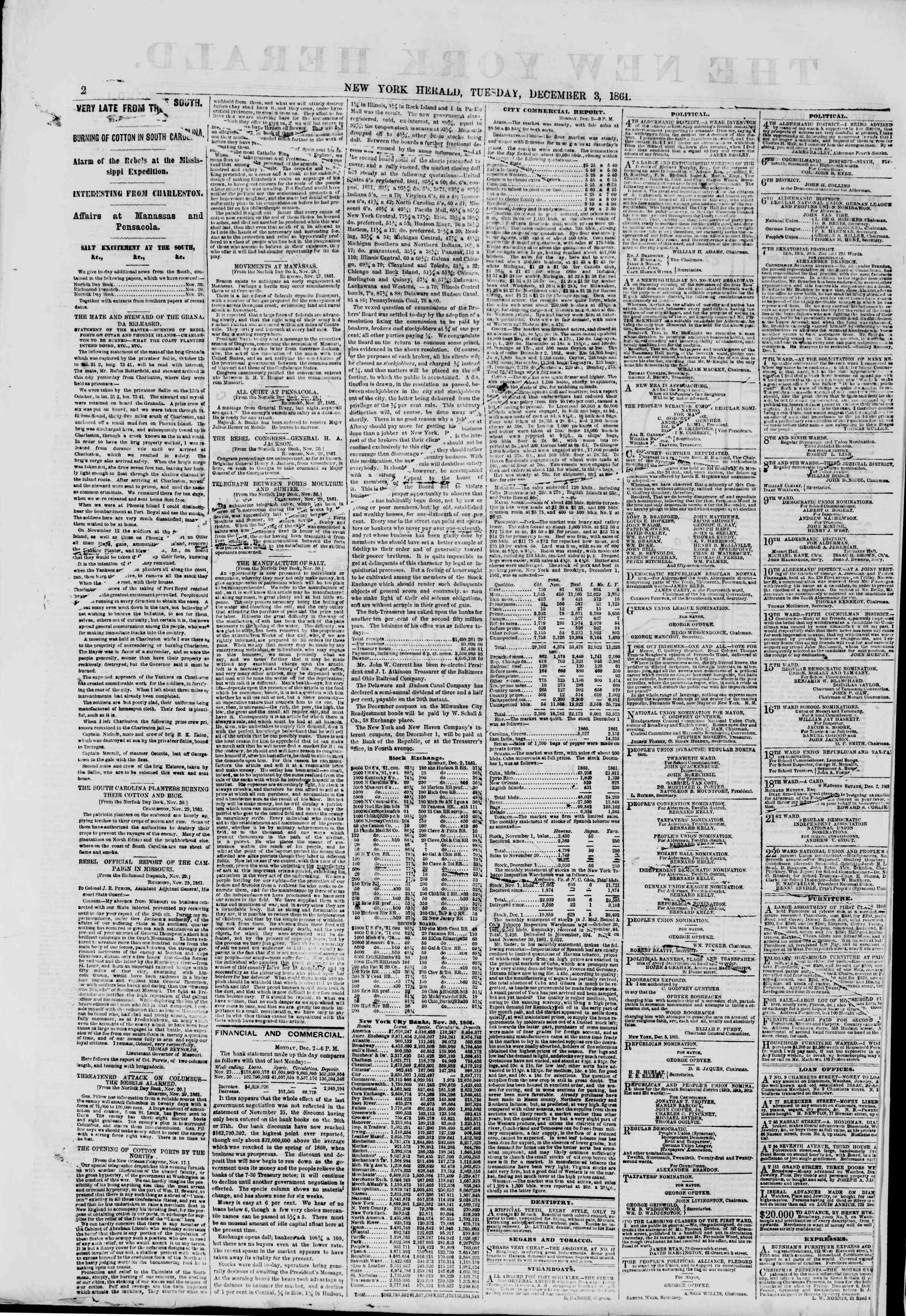 Newspaper of The New York Herald dated December 3, 1861 Page 2