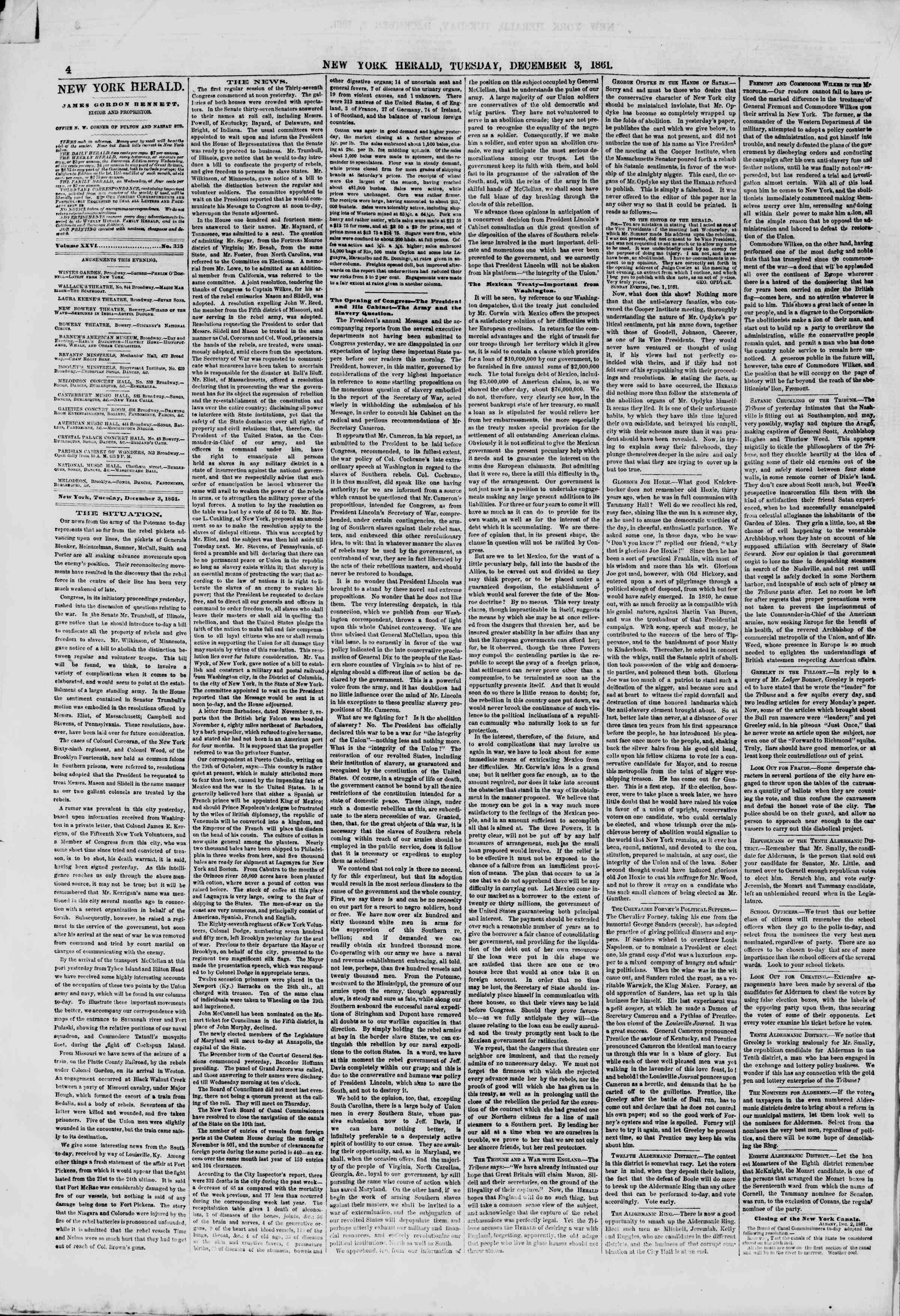 Newspaper of The New York Herald dated December 3, 1861 Page 4